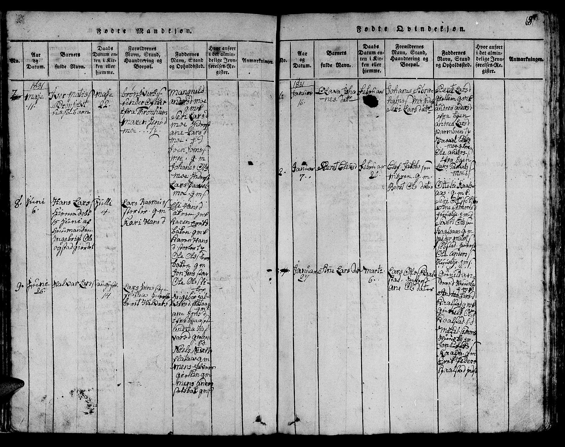 SAT, Ministerialprotokoller, klokkerbøker og fødselsregistre - Sør-Trøndelag, 613/L0393: Klokkerbok nr. 613C01, 1816-1886, s. 68