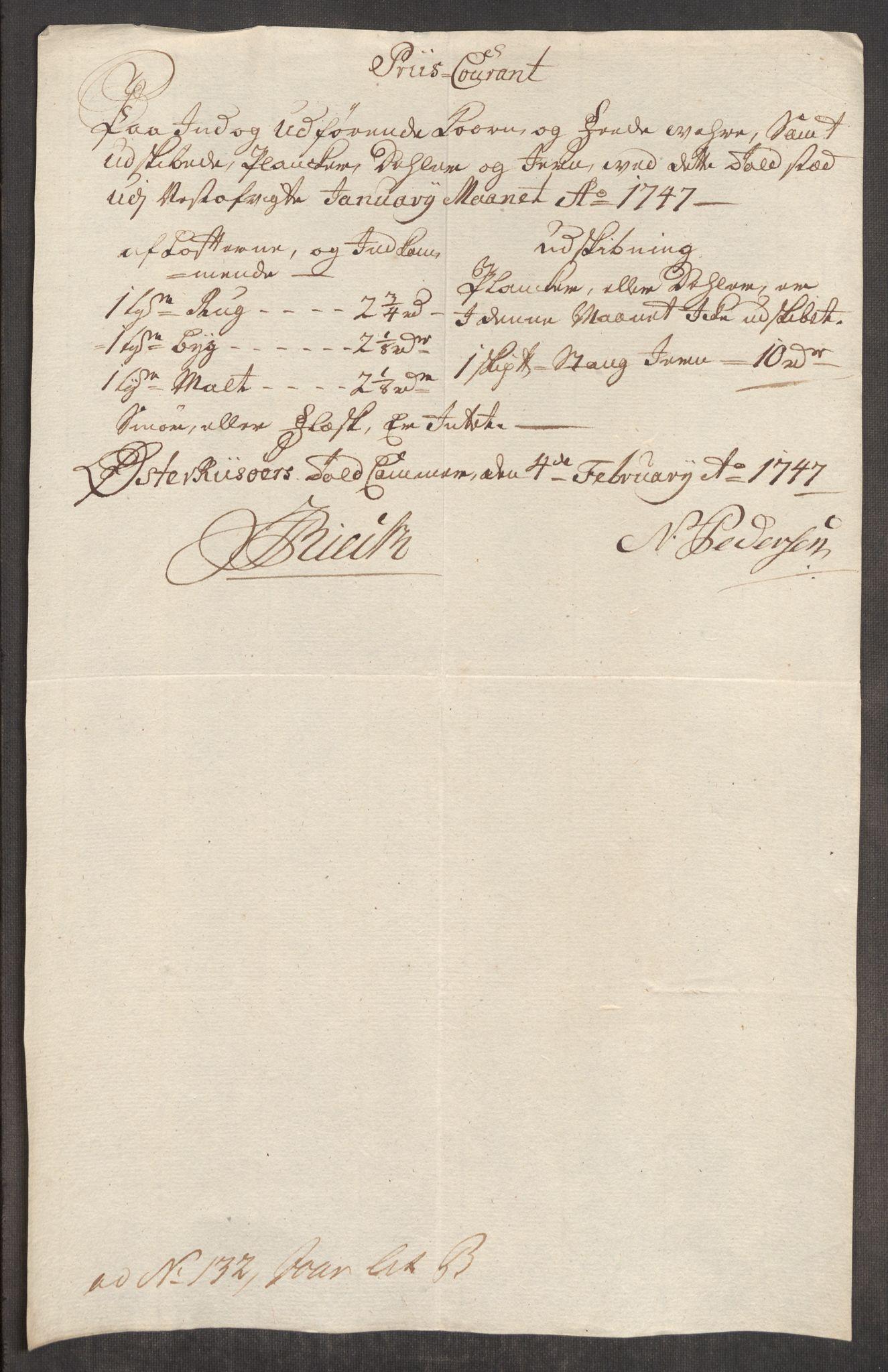 RA, Rentekammeret inntil 1814, Realistisk ordnet avdeling, Oe/L0003: [Ø1]: Priskuranter, 1745-1748, s. 599