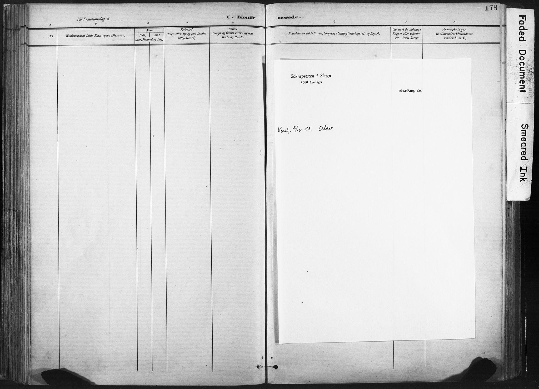 SAT, Ministerialprotokoller, klokkerbøker og fødselsregistre - Nord-Trøndelag, 717/L0162: Ministerialbok nr. 717A12, 1898-1923, s. 178
