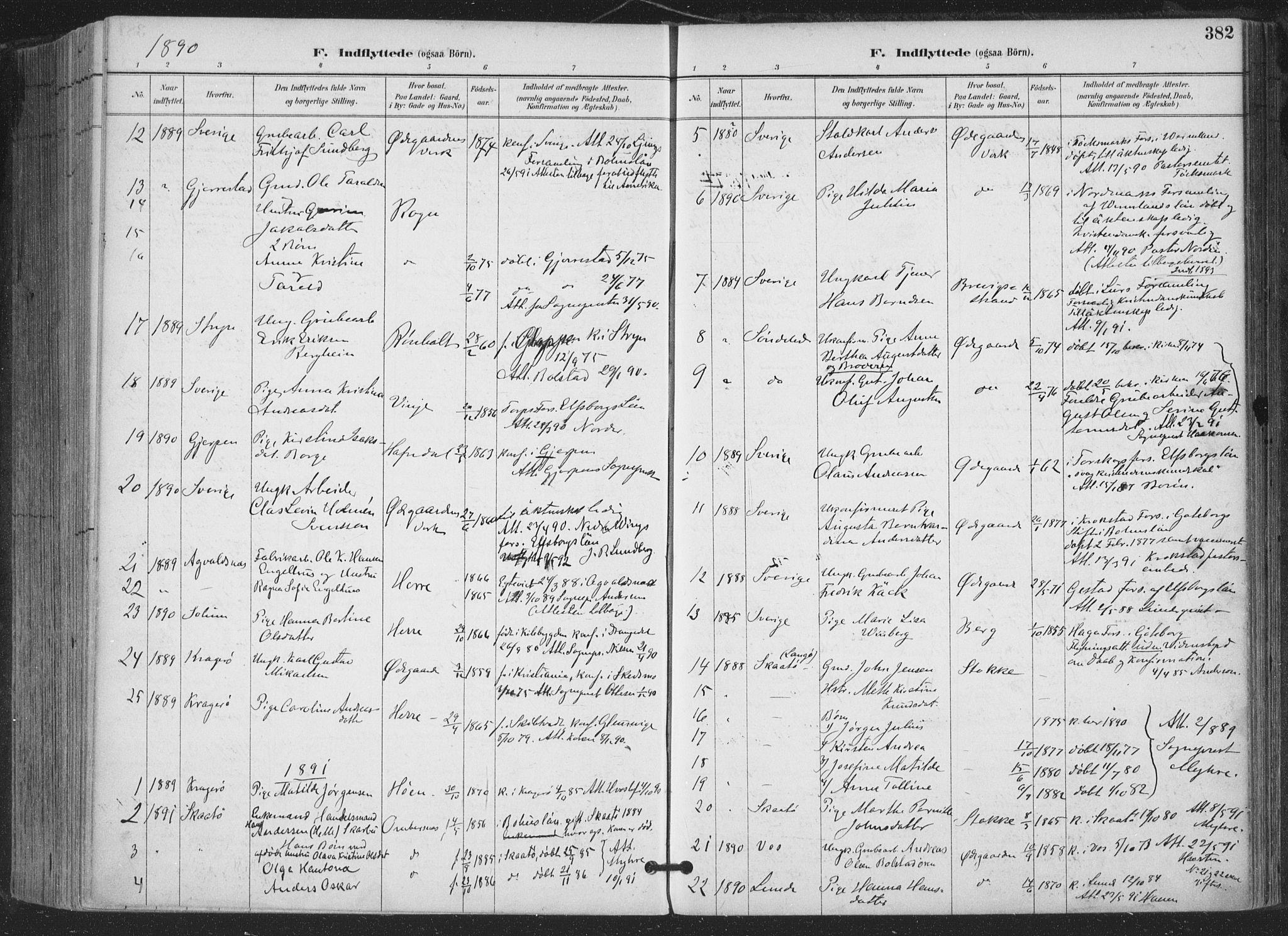 SAKO, Bamble kirkebøker, F/Fa/L0008: Ministerialbok nr. I 8, 1888-1900, s. 382