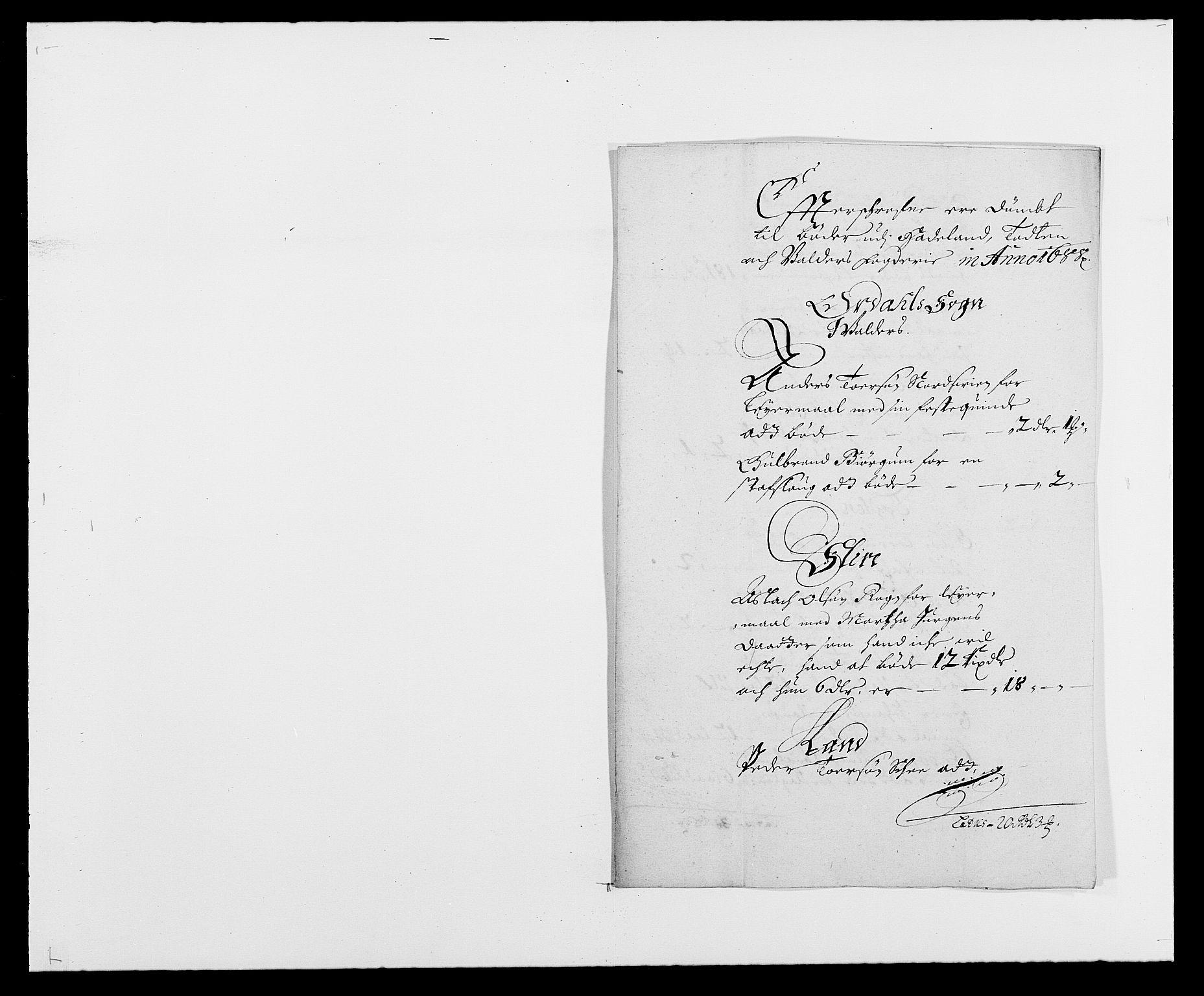RA, Rentekammeret inntil 1814, Reviderte regnskaper, Fogderegnskap, R18/L1287: Fogderegnskap Hadeland, Toten og Valdres, 1688, s. 201