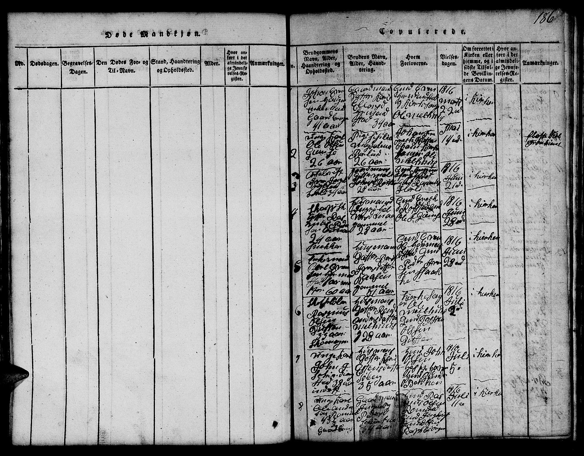 SAT, Ministerialprotokoller, klokkerbøker og fødselsregistre - Sør-Trøndelag, 691/L1092: Klokkerbok nr. 691C03, 1816-1852, s. 186