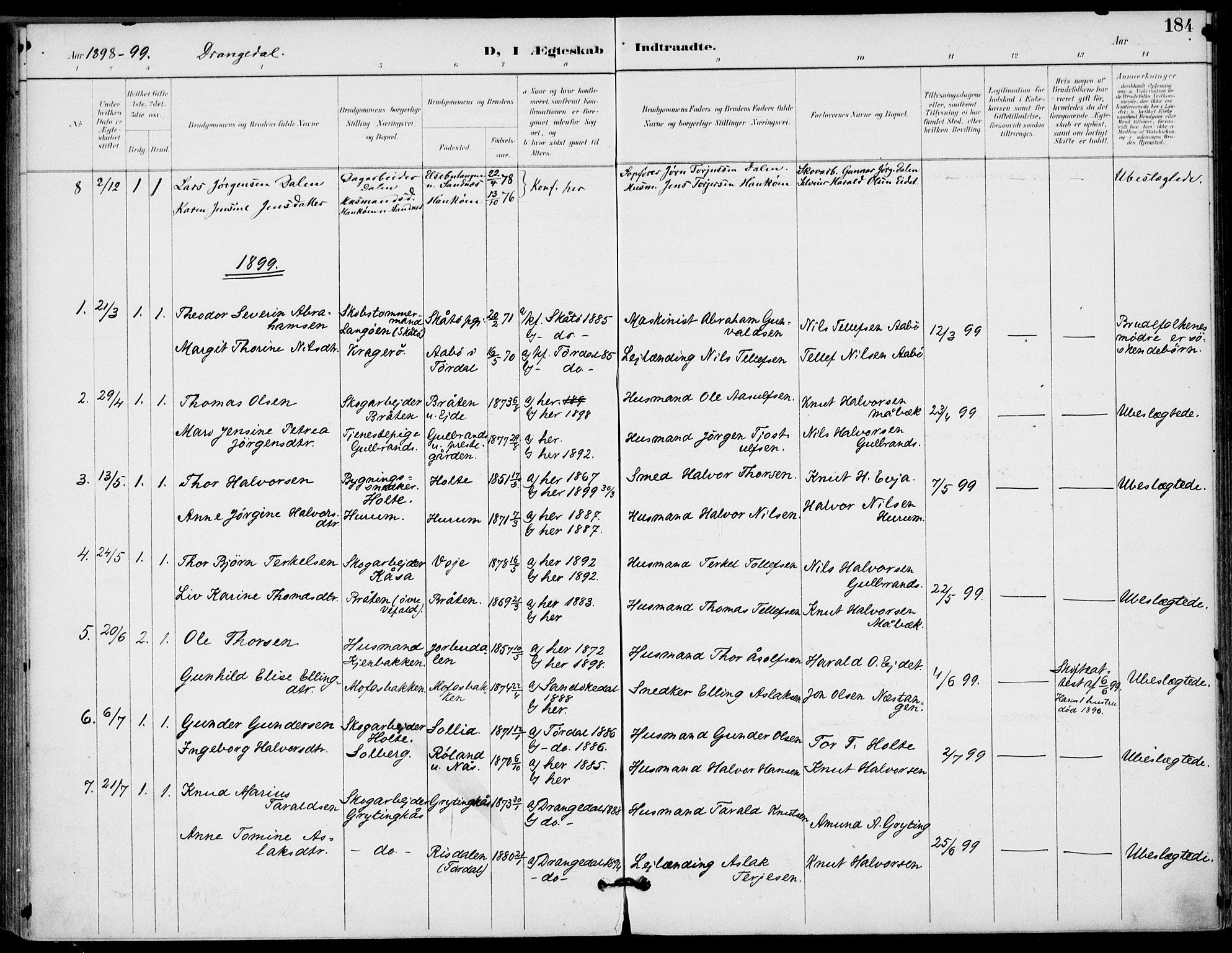 SAKO, Drangedal kirkebøker, F/Fa/L0012: Ministerialbok nr. 12, 1895-1905, s. 184