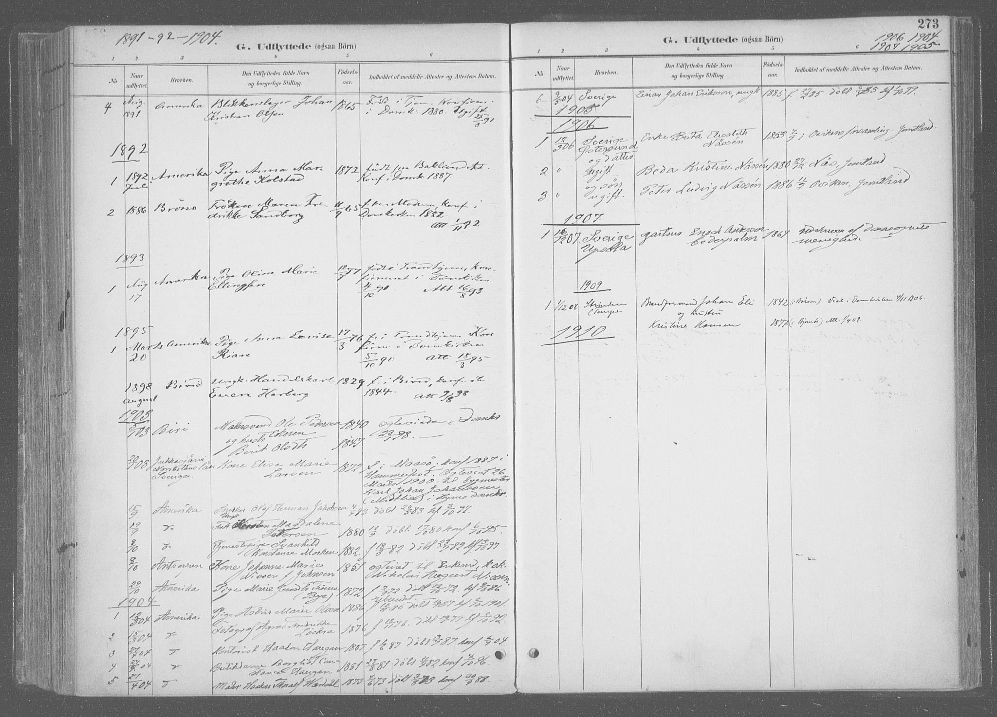SAT, Ministerialprotokoller, klokkerbøker og fødselsregistre - Sør-Trøndelag, 601/L0064: Ministerialbok nr. 601A31, 1891-1911, s. 273