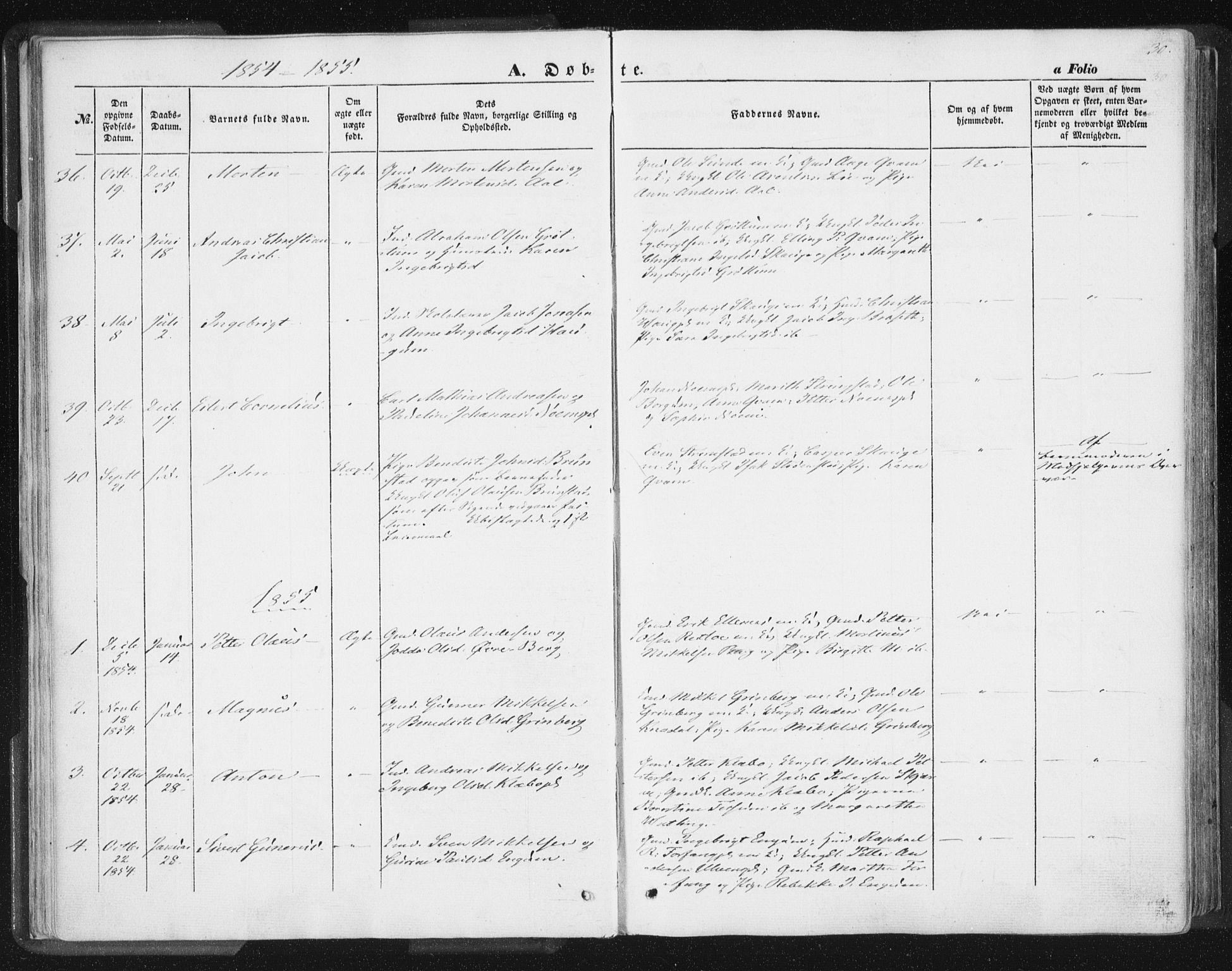 SAT, Ministerialprotokoller, klokkerbøker og fødselsregistre - Nord-Trøndelag, 746/L0446: Ministerialbok nr. 746A05, 1846-1859, s. 30