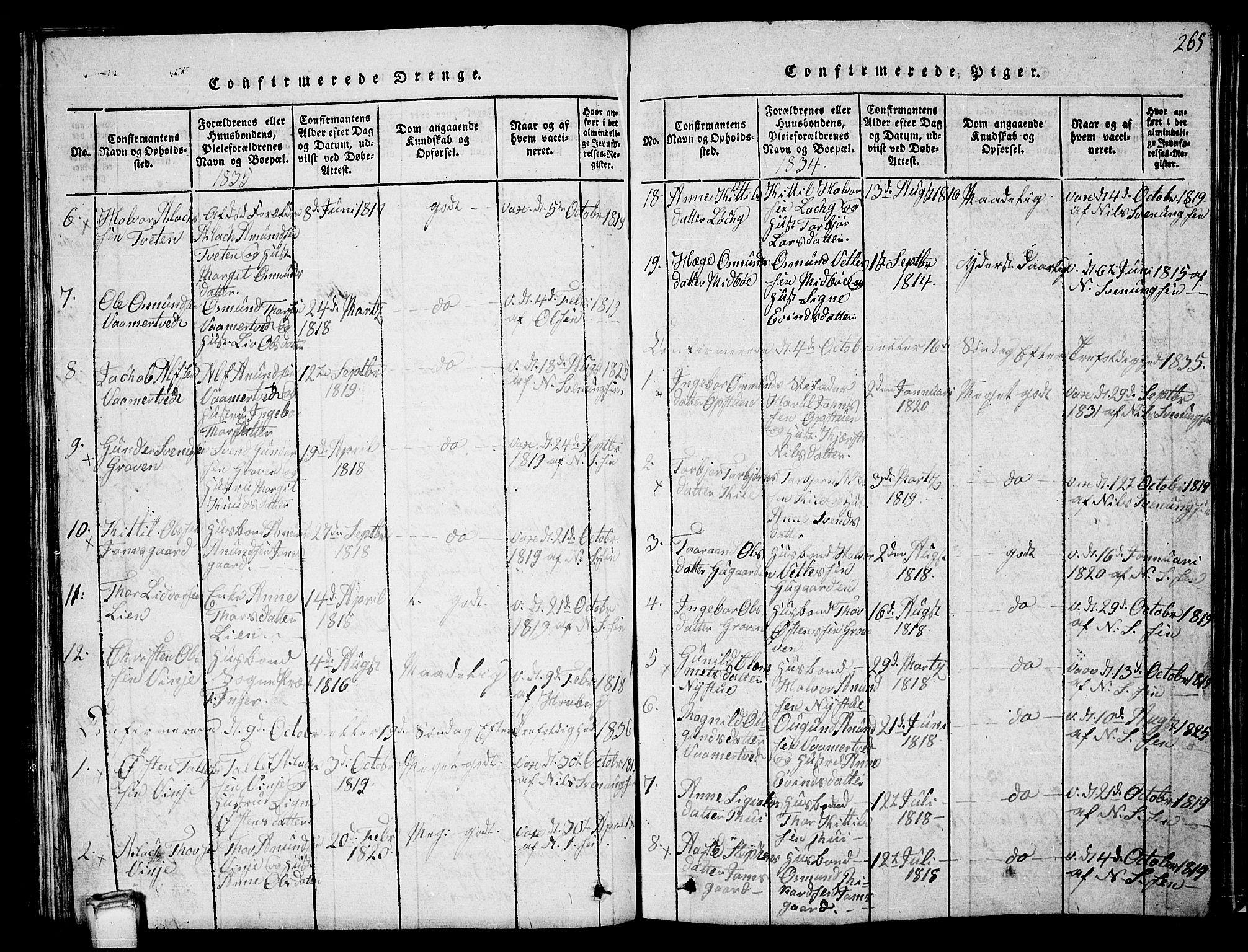 SAKO, Vinje kirkebøker, G/Ga/L0001: Klokkerbok nr. I 1, 1814-1843, s. 265