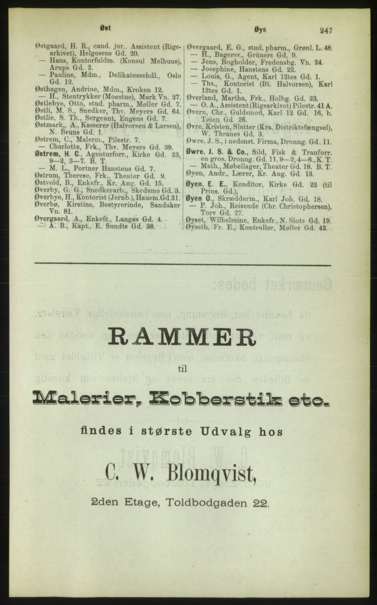 PUBL, Kristiania/Oslo adressebok, 1883, s. 247