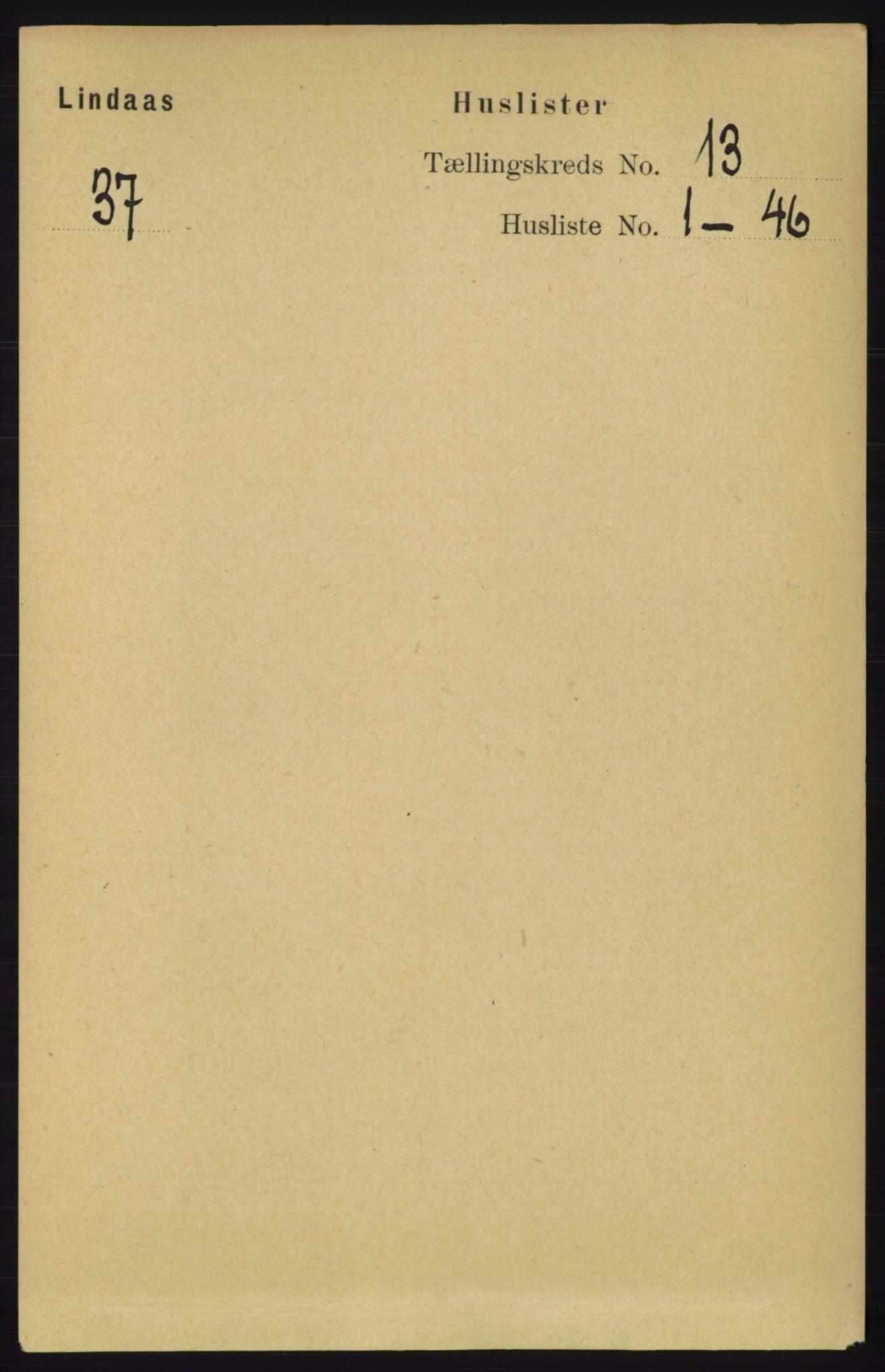 RA, Folketelling 1891 for 1263 Lindås herred, 1891, s. 4494