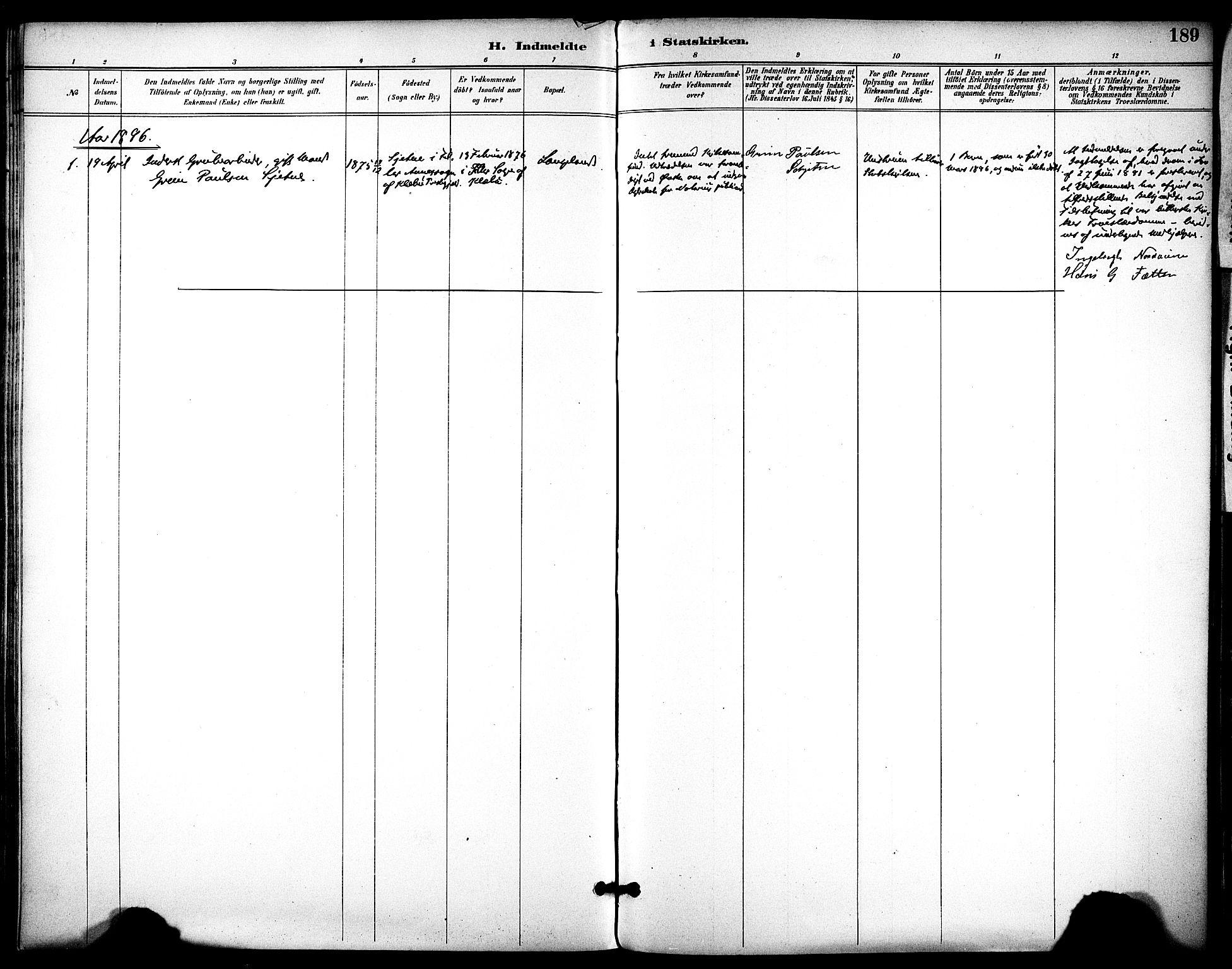 SAT, Ministerialprotokoller, klokkerbøker og fødselsregistre - Sør-Trøndelag, 686/L0984: Ministerialbok nr. 686A02, 1891-1906, s. 189