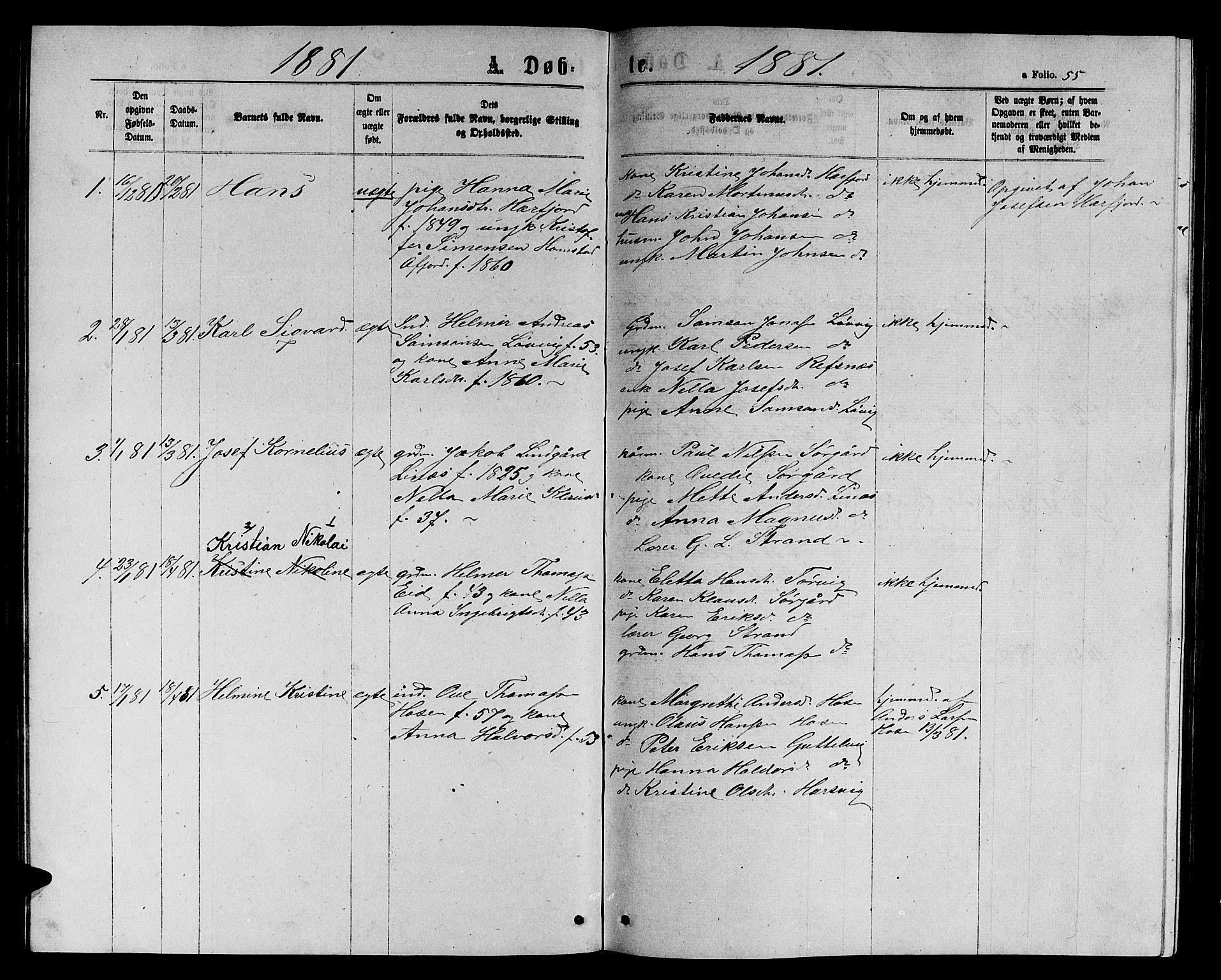 SAT, Ministerialprotokoller, klokkerbøker og fødselsregistre - Sør-Trøndelag, 656/L0695: Klokkerbok nr. 656C01, 1867-1889, s. 55