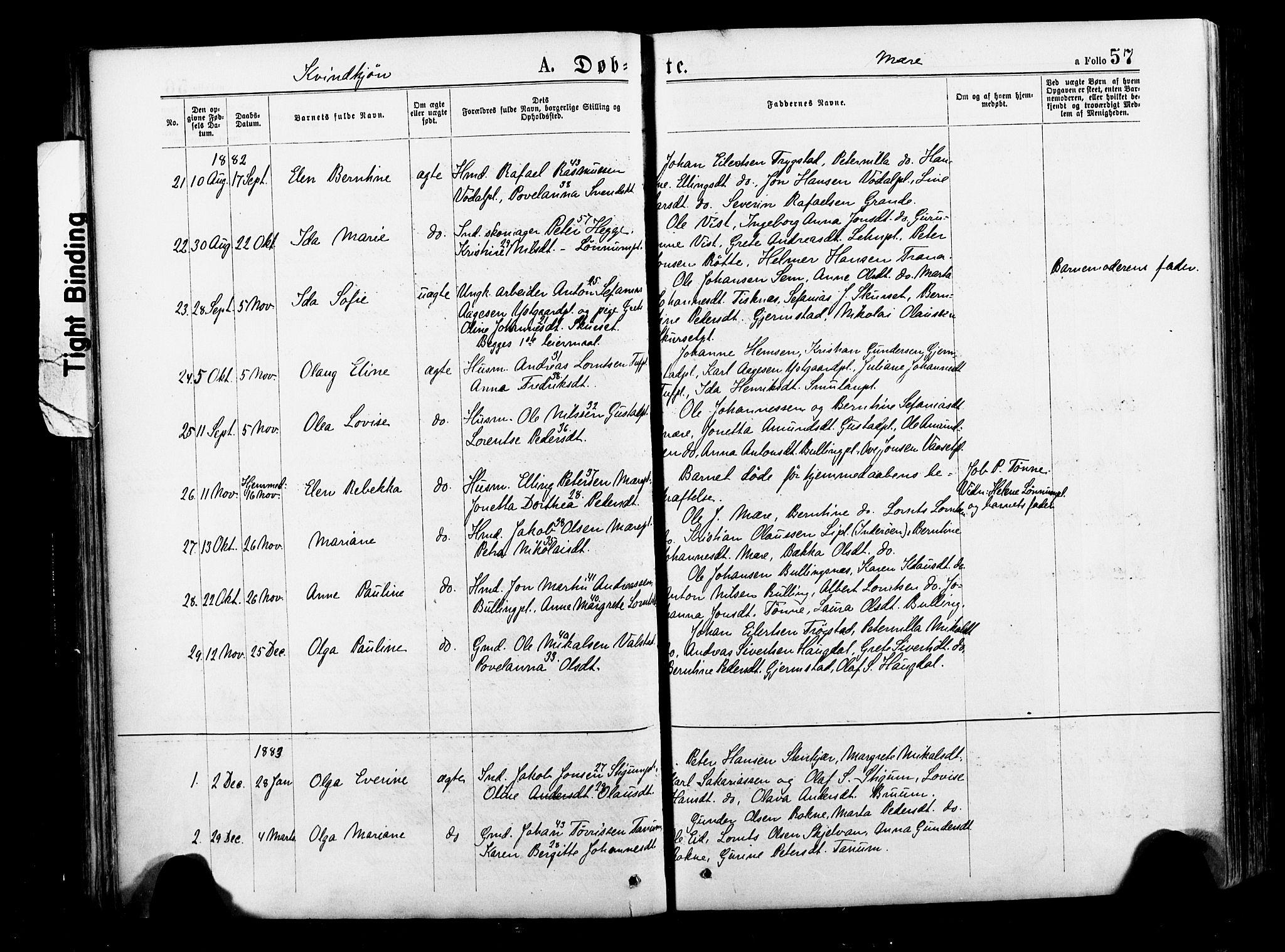 SAT, Ministerialprotokoller, klokkerbøker og fødselsregistre - Nord-Trøndelag, 735/L0348: Ministerialbok nr. 735A09 /1, 1873-1883, s. 57