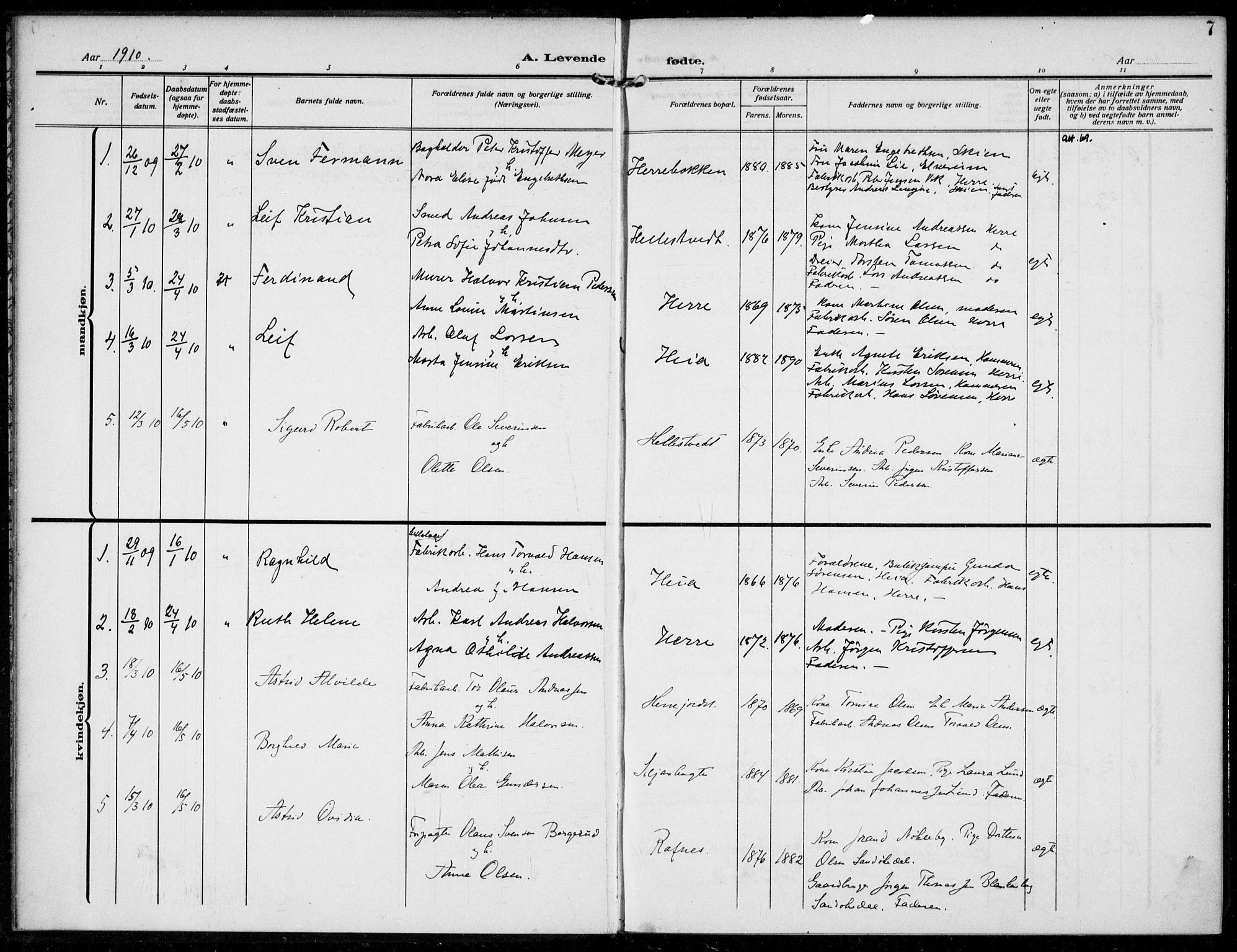 SAKO, Bamble kirkebøker, F/Fc/L0001: Ministerialbok nr. III 1, 1909-1916, s. 7