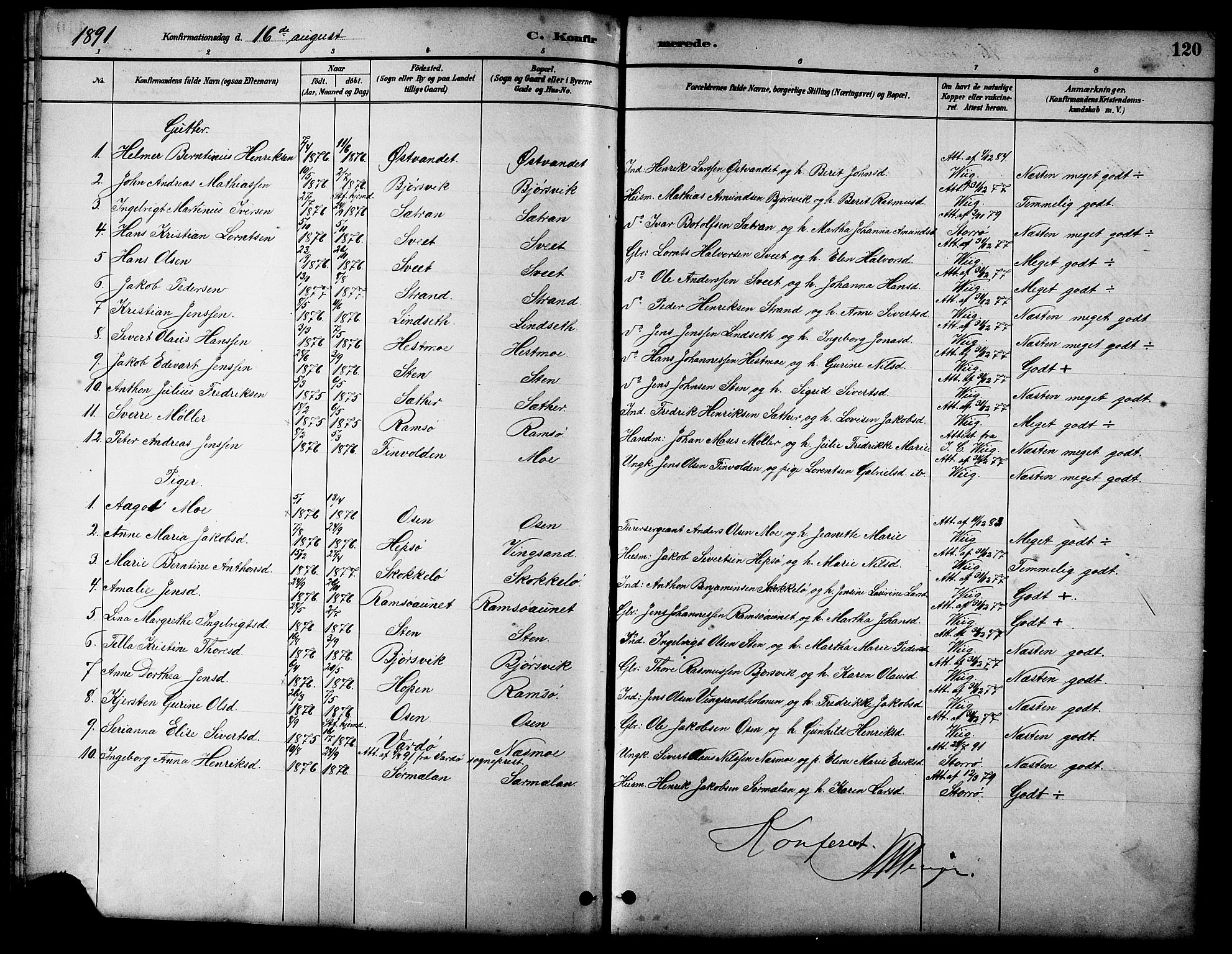 SAT, Ministerialprotokoller, klokkerbøker og fødselsregistre - Sør-Trøndelag, 658/L0726: Klokkerbok nr. 658C02, 1883-1908, s. 120