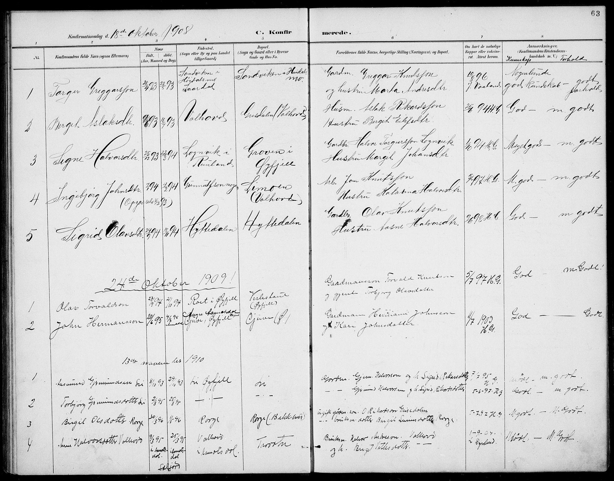 SAKO, Rauland kirkebøker, G/Gb/L0002: Klokkerbok nr. II 2, 1887-1937, s. 63