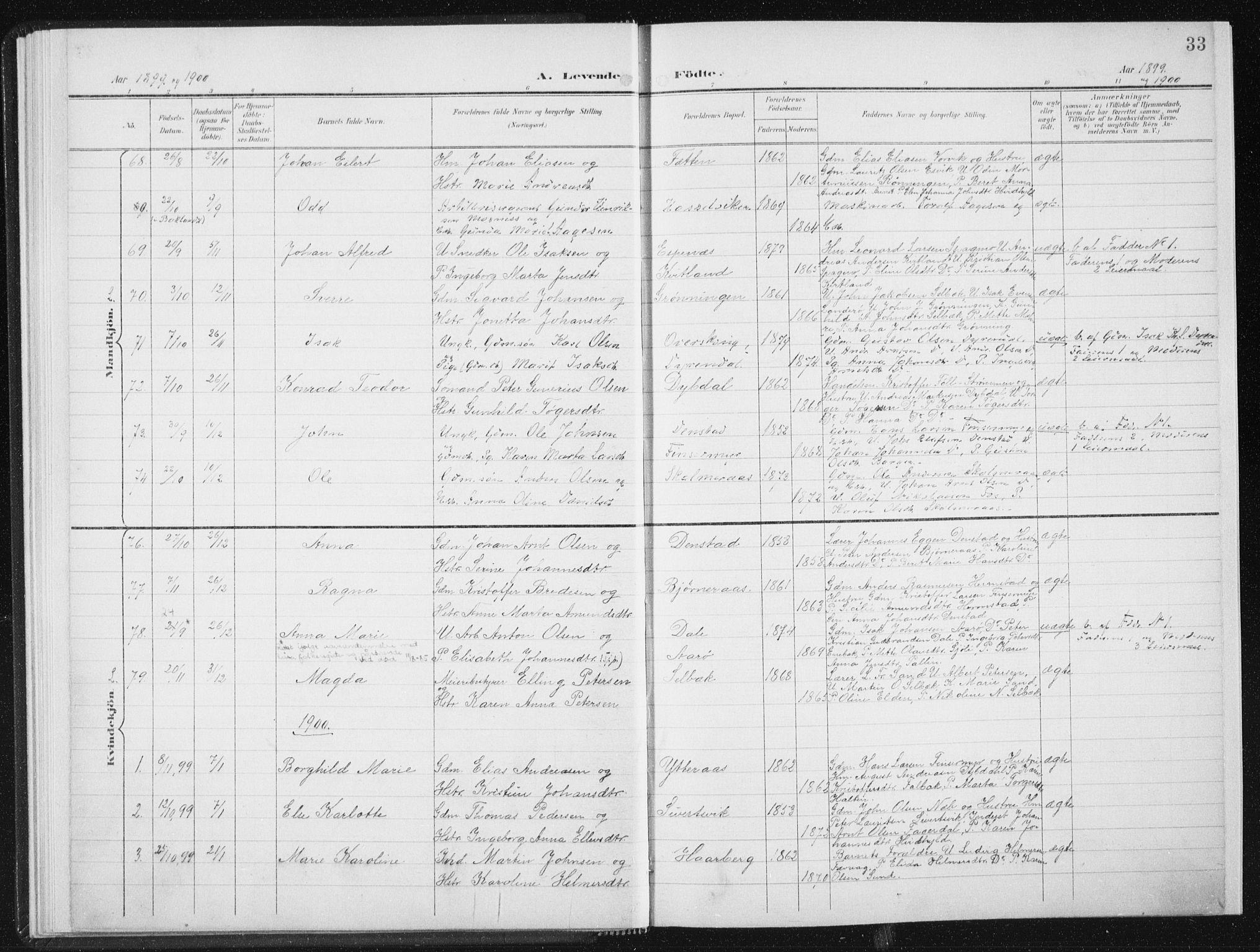 SAT, Ministerialprotokoller, klokkerbøker og fødselsregistre - Sør-Trøndelag, 647/L0635: Ministerialbok nr. 647A02, 1896-1911, s. 33