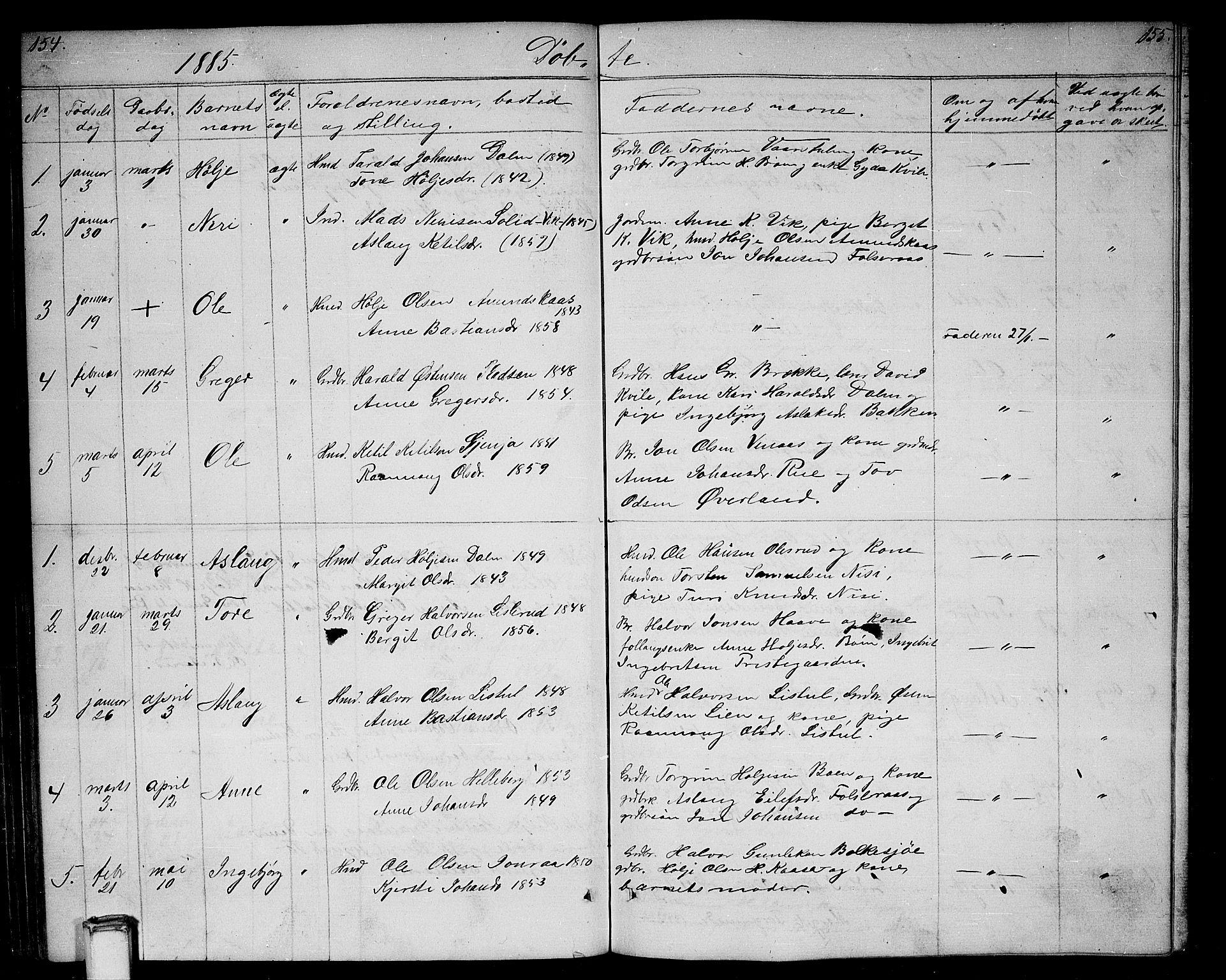 SAKO, Gransherad kirkebøker, G/Ga/L0002: Klokkerbok nr. I 2, 1854-1886, s. 154-155