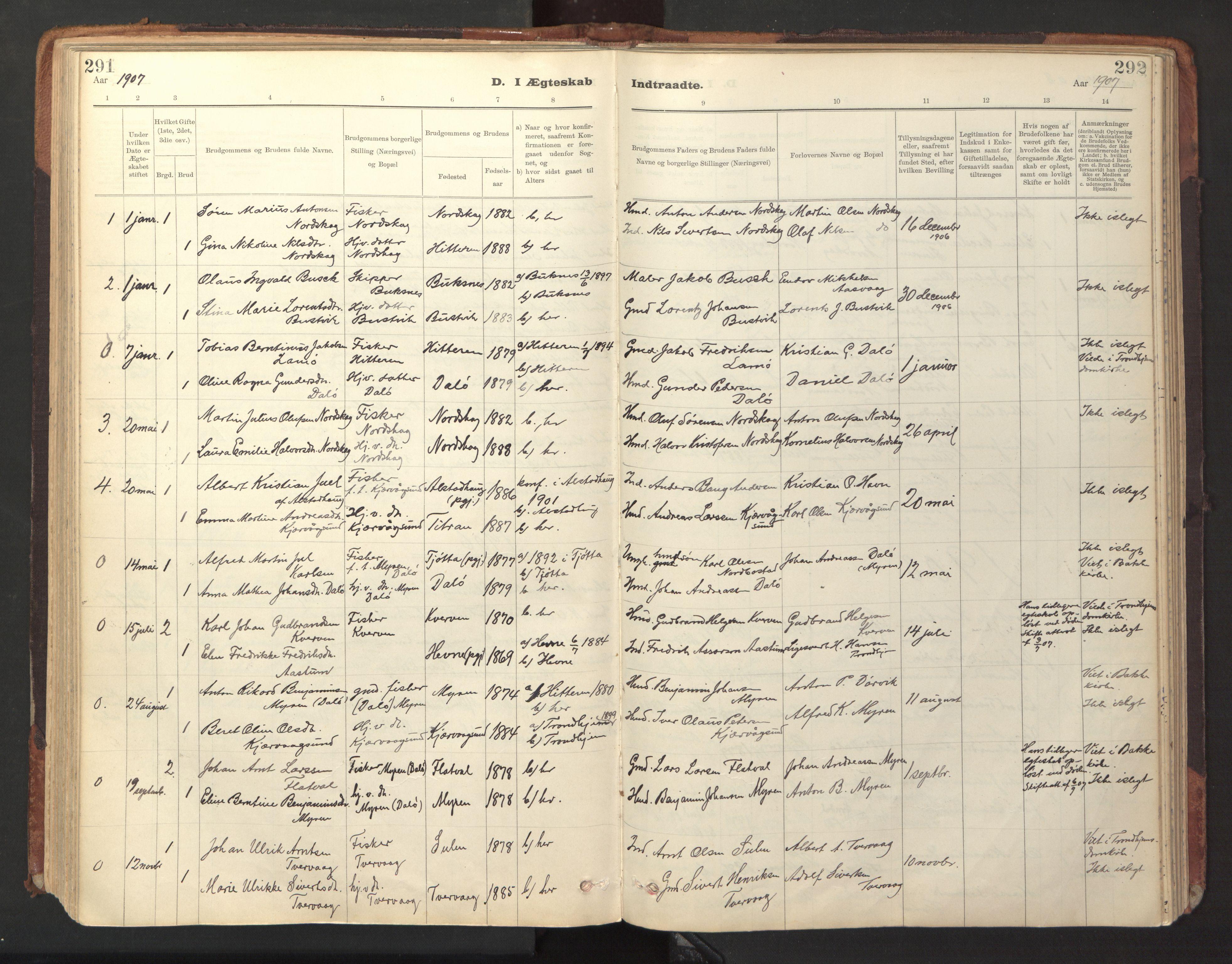 SAT, Ministerialprotokoller, klokkerbøker og fødselsregistre - Sør-Trøndelag, 641/L0596: Ministerialbok nr. 641A02, 1898-1915, s. 291-292
