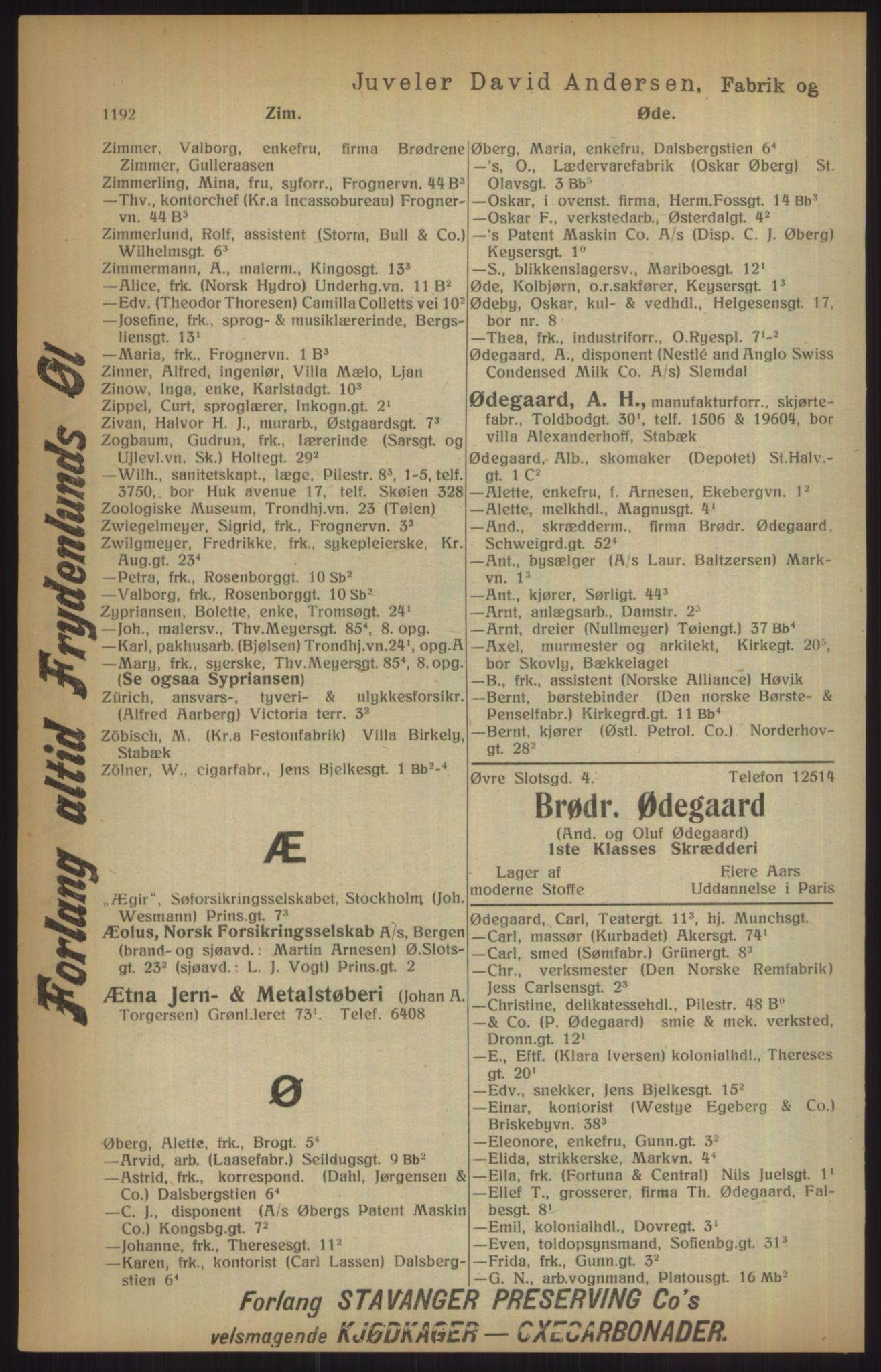 RA, Kristiania adressebok (publikasjon)*, 1915, s. 1192