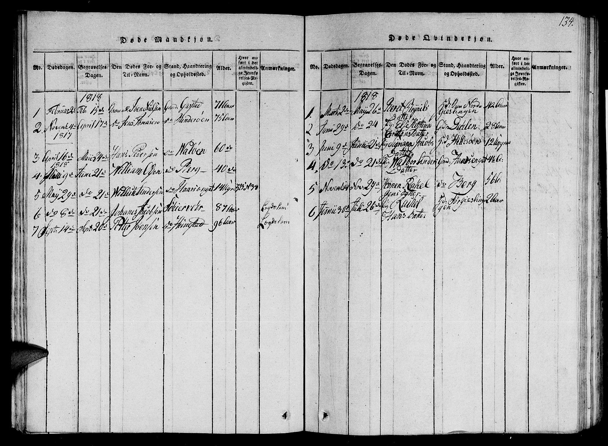 SAT, Ministerialprotokoller, klokkerbøker og fødselsregistre - Nord-Trøndelag, 784/L0679: Klokkerbok nr. 784C01 /2, 1818-1822, s. 134