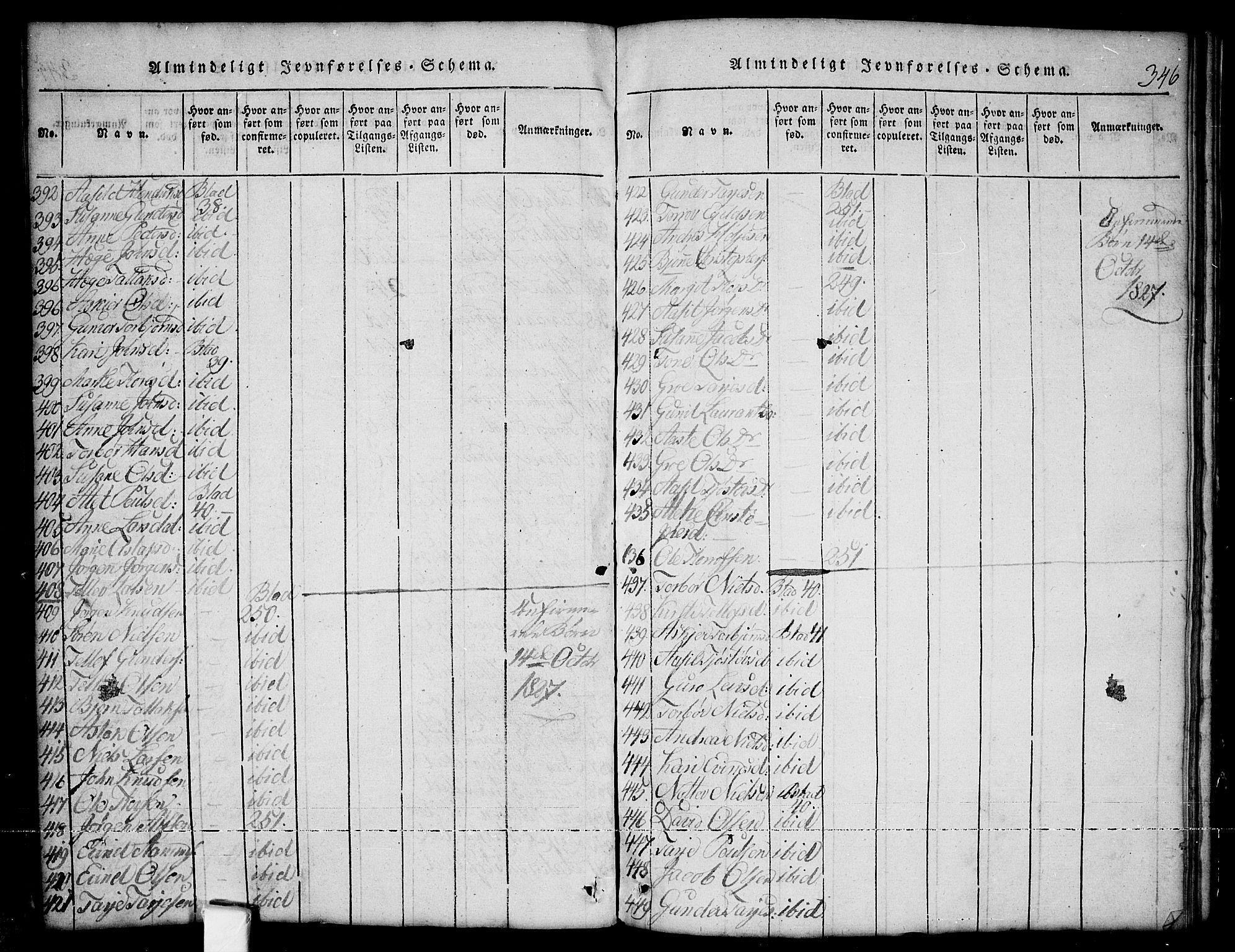 SAKO, Nissedal kirkebøker, G/Ga/L0001: Klokkerbok nr. I 1, 1814-1860, s. 346