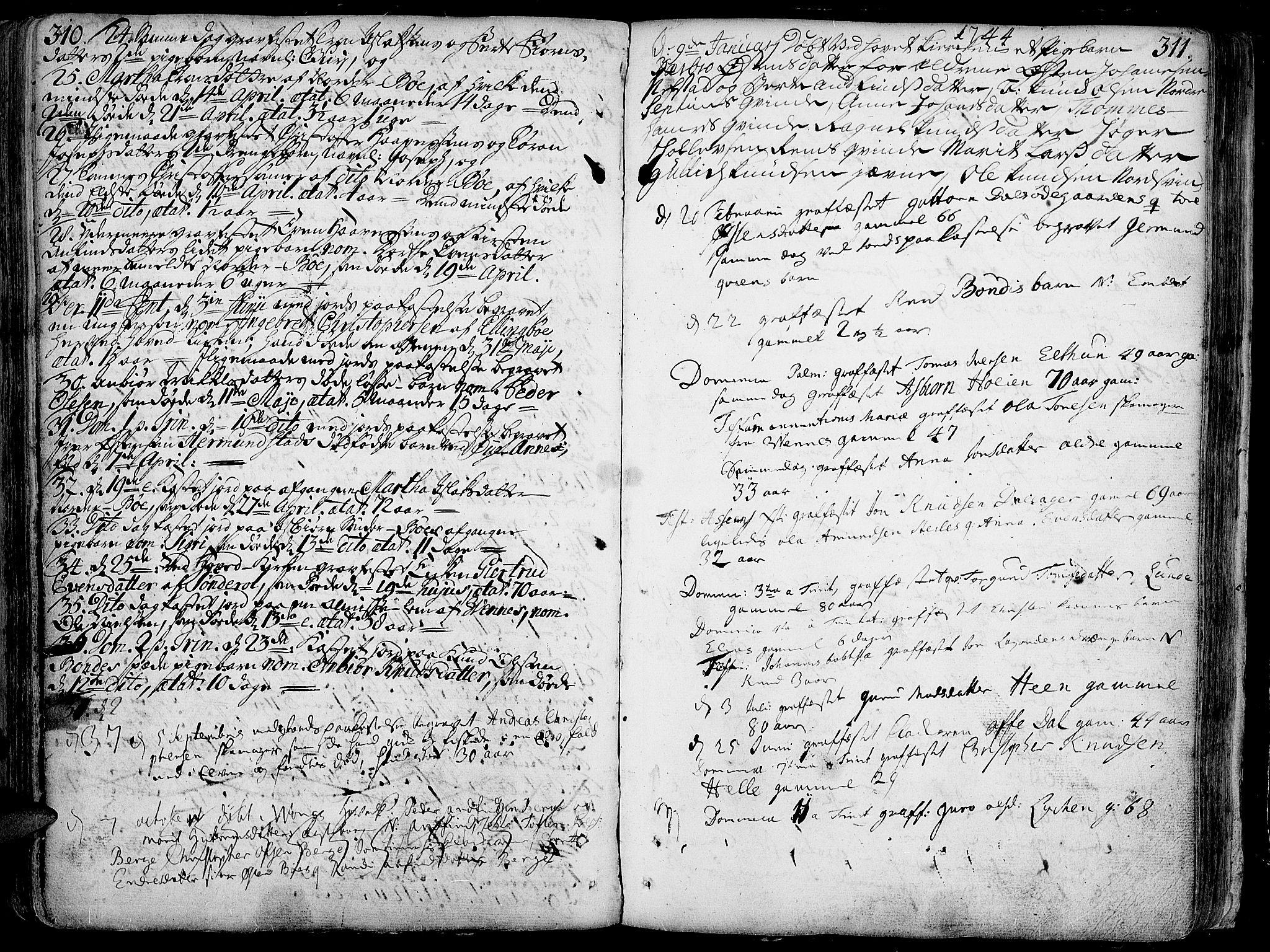 SAH, Vang prestekontor, Valdres, Ministerialbok nr. 1, 1730-1796, s. 310-311