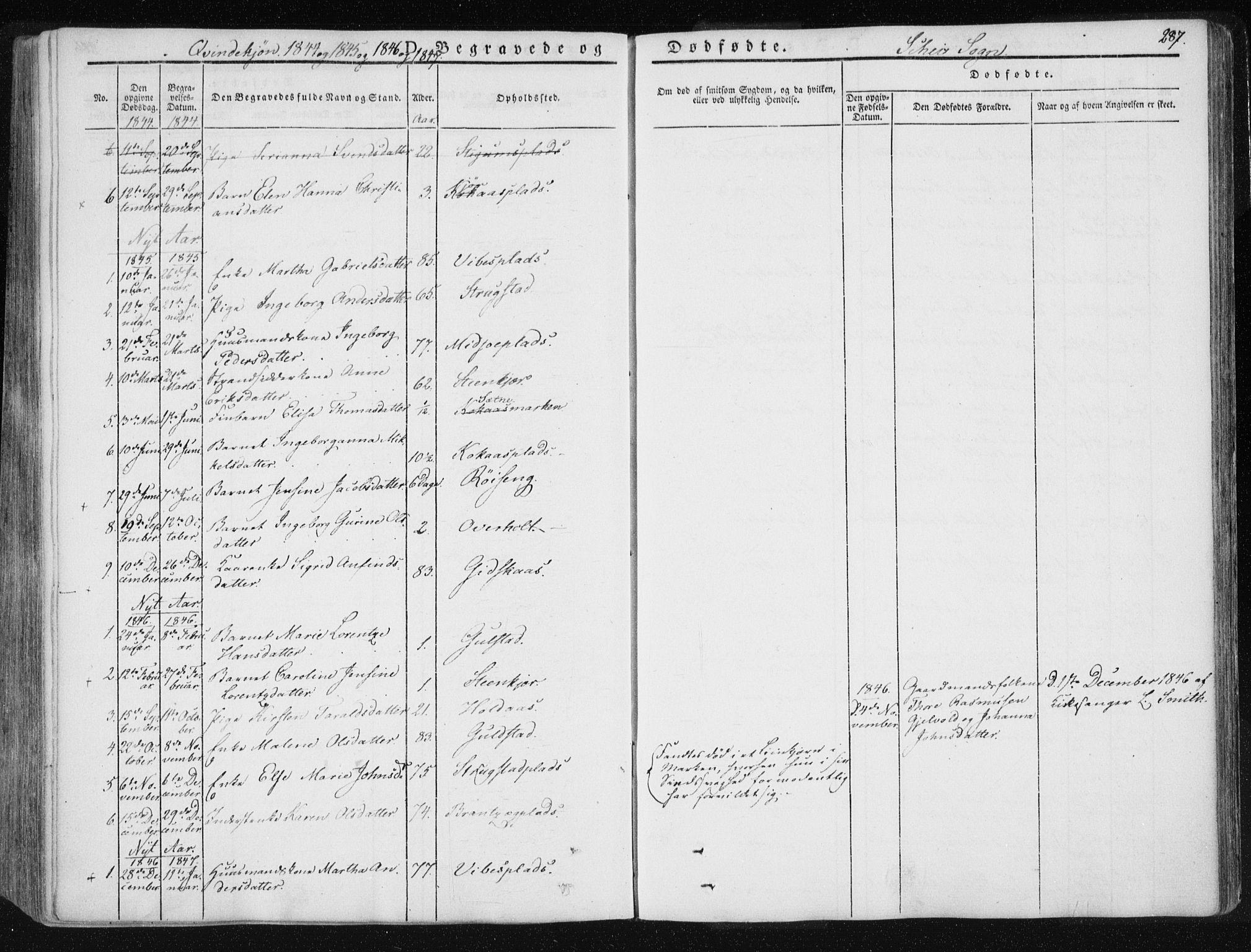 SAT, Ministerialprotokoller, klokkerbøker og fødselsregistre - Nord-Trøndelag, 735/L0339: Ministerialbok nr. 735A06 /2, 1836-1848, s. 287