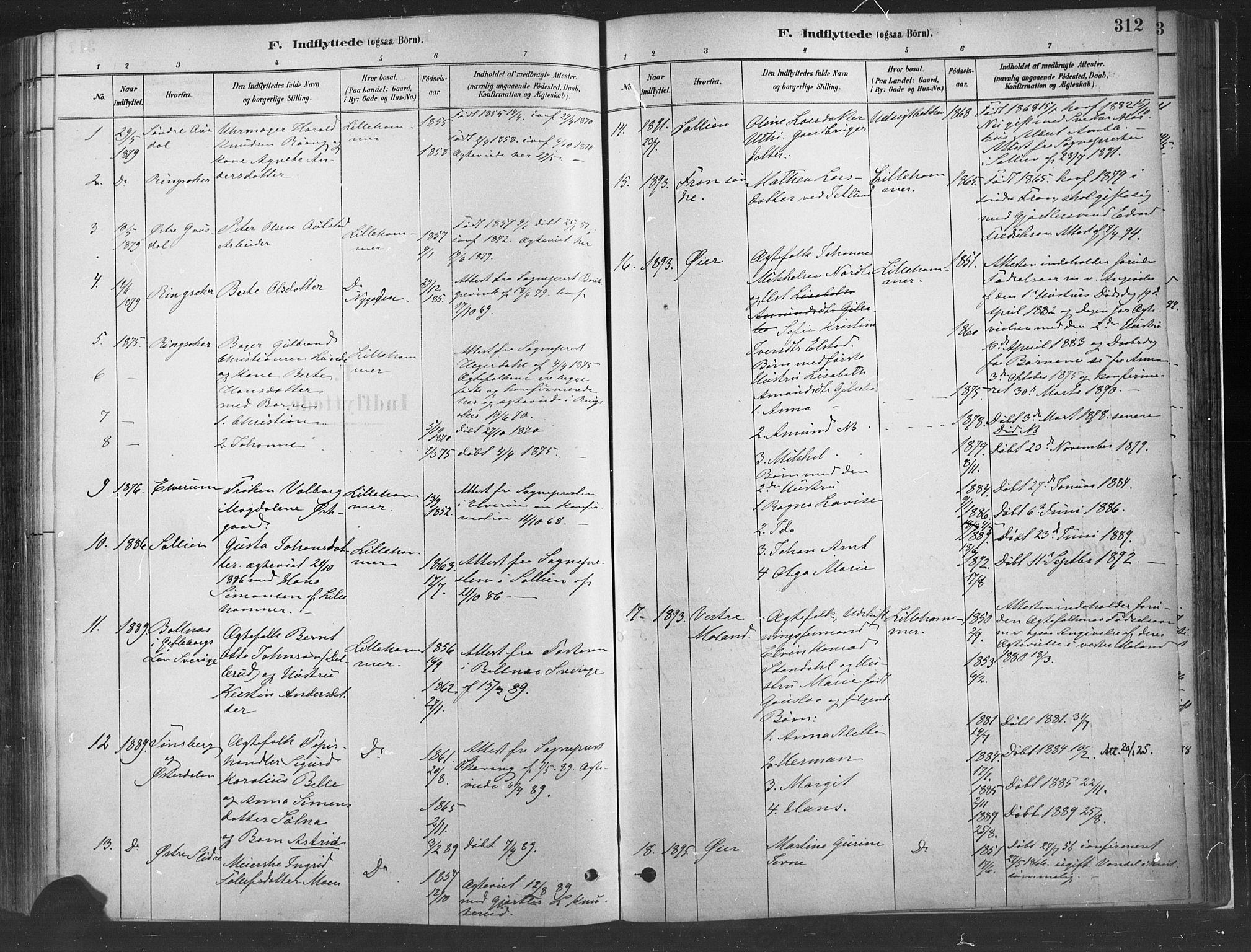 SAH, Fåberg prestekontor, H/Ha/Haa/L0010: Ministerialbok nr. 10, 1879-1900, s. 312