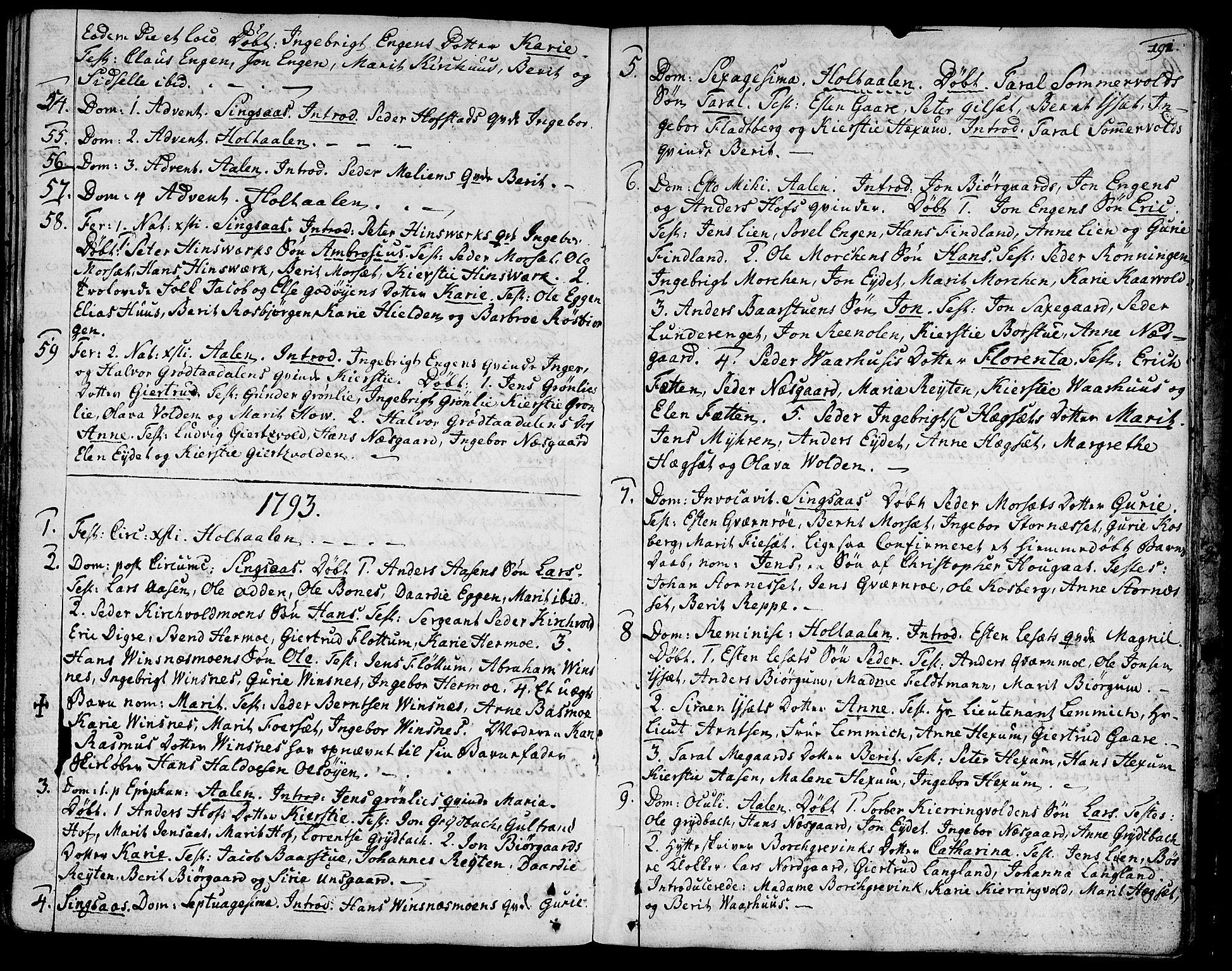 SAT, Ministerialprotokoller, klokkerbøker og fødselsregistre - Sør-Trøndelag, 685/L0952: Ministerialbok nr. 685A01, 1745-1804, s. 191