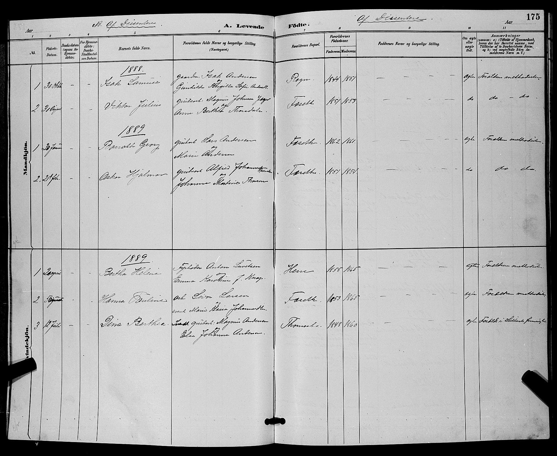 SAKO, Bamble kirkebøker, G/Ga/L0009: Klokkerbok nr. I 9, 1888-1900, s. 175