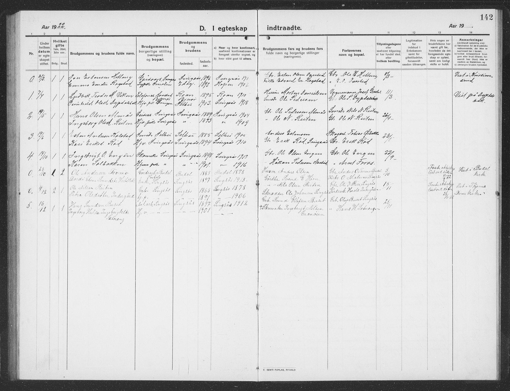 SAT, Ministerialprotokoller, klokkerbøker og fødselsregistre - Sør-Trøndelag, 688/L1030: Klokkerbok nr. 688C05, 1916-1939, s. 142