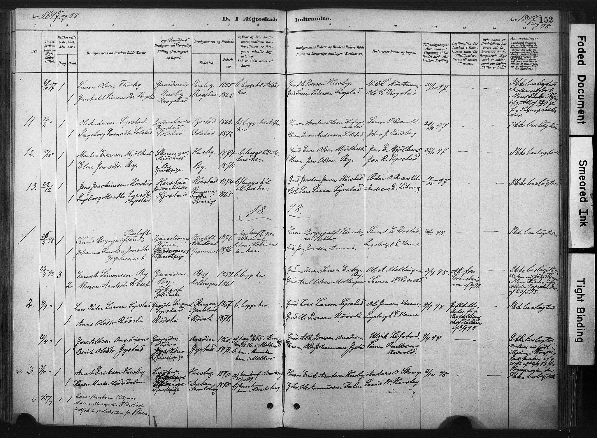 SAT, Ministerialprotokoller, klokkerbøker og fødselsregistre - Sør-Trøndelag, 667/L0795: Ministerialbok nr. 667A03, 1879-1907, s. 152