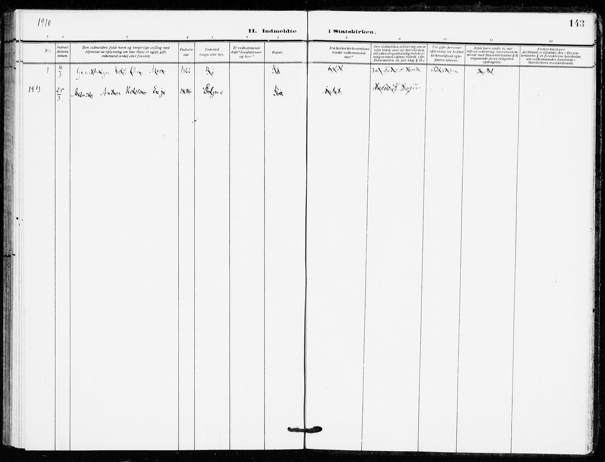 SAKO, Bø kirkebøker, F/Fa/L0013: Ministerialbok nr. 13, 1909-1921, s. 143