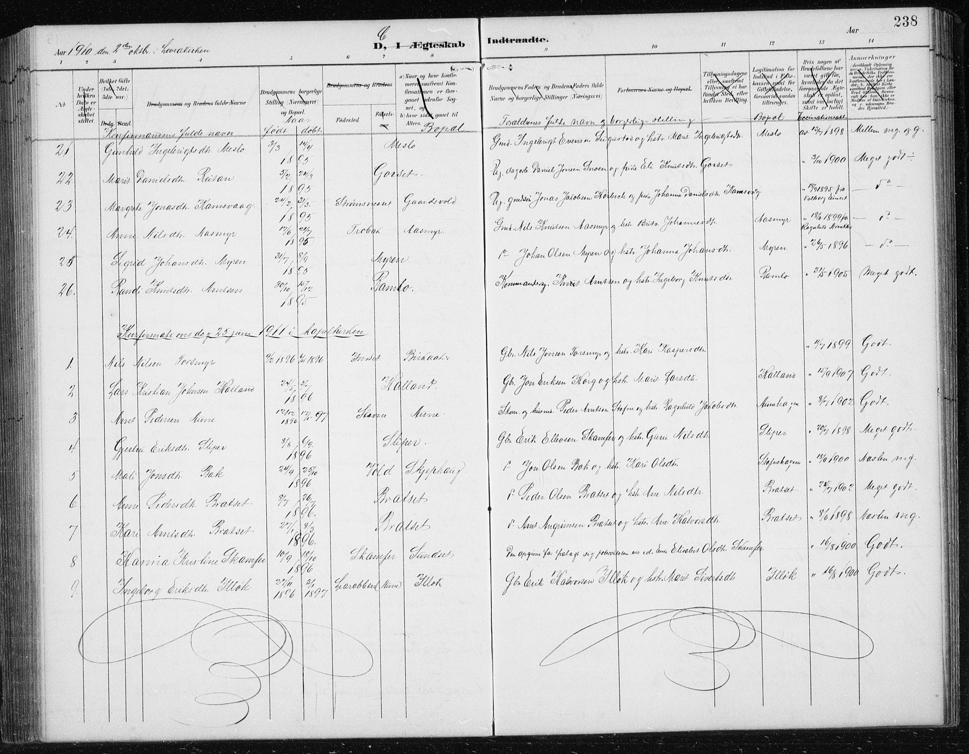 SAT, Ministerialprotokoller, klokkerbøker og fødselsregistre - Sør-Trøndelag, 674/L0876: Klokkerbok nr. 674C03, 1892-1912, s. 238