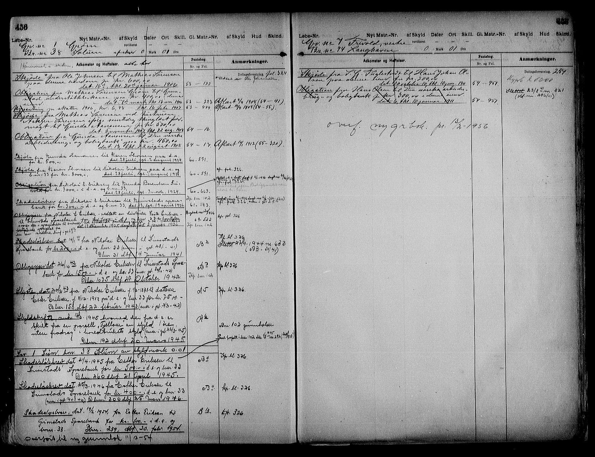 SAK, Vestre Nedenes/Sand sorenskriveri, G/Ga/L0018: Panteregister nr. 13b, 1872-1956, s. 456