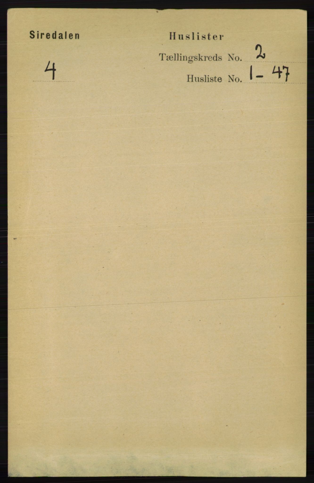 RA, Folketelling 1891 for 1046 Sirdal herred, 1891, s. 288