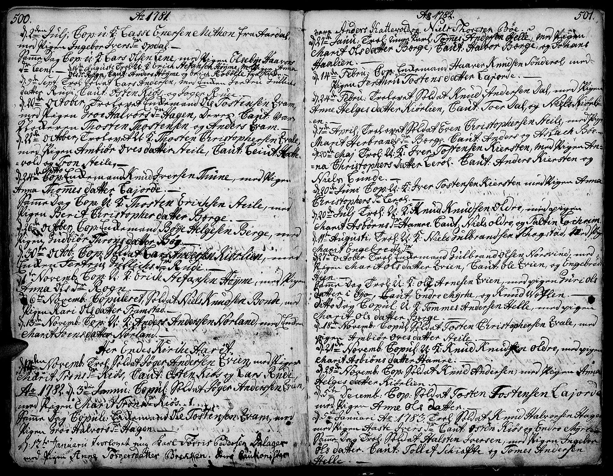 SAH, Vang prestekontor, Valdres, Ministerialbok nr. 1, 1730-1796, s. 500-501