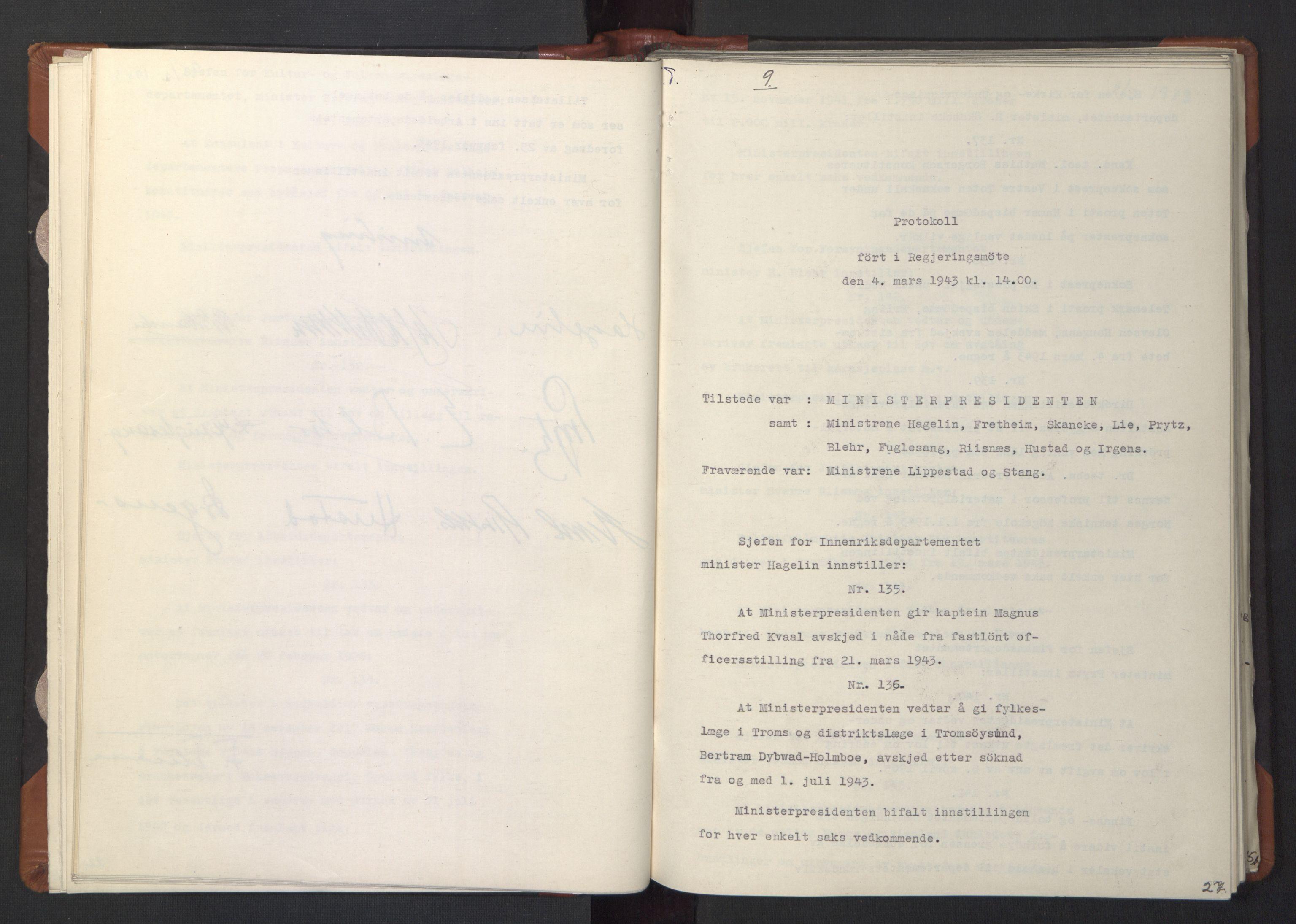 RA, NS-administrasjonen 1940-1945 (Statsrådsekretariatet, de kommisariske statsråder mm), D/Da/L0003: Vedtak (Beslutninger) nr. 1-746 og tillegg nr. 1-47 (RA. j.nr. 1394/1944, tilgangsnr. 8/1944, 1943, s. 26b-27a