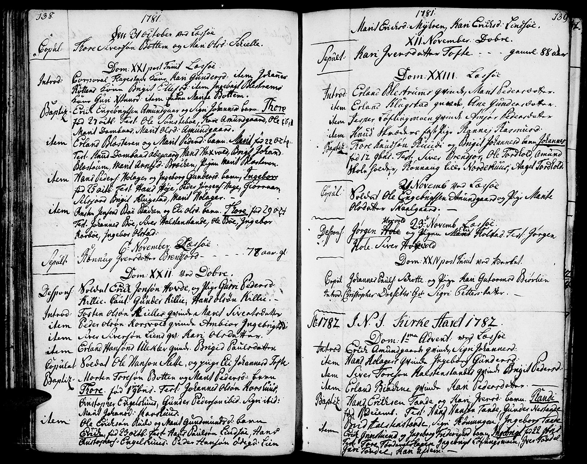 SAH, Lesja prestekontor, Ministerialbok nr. 3, 1777-1819, s. 138-139