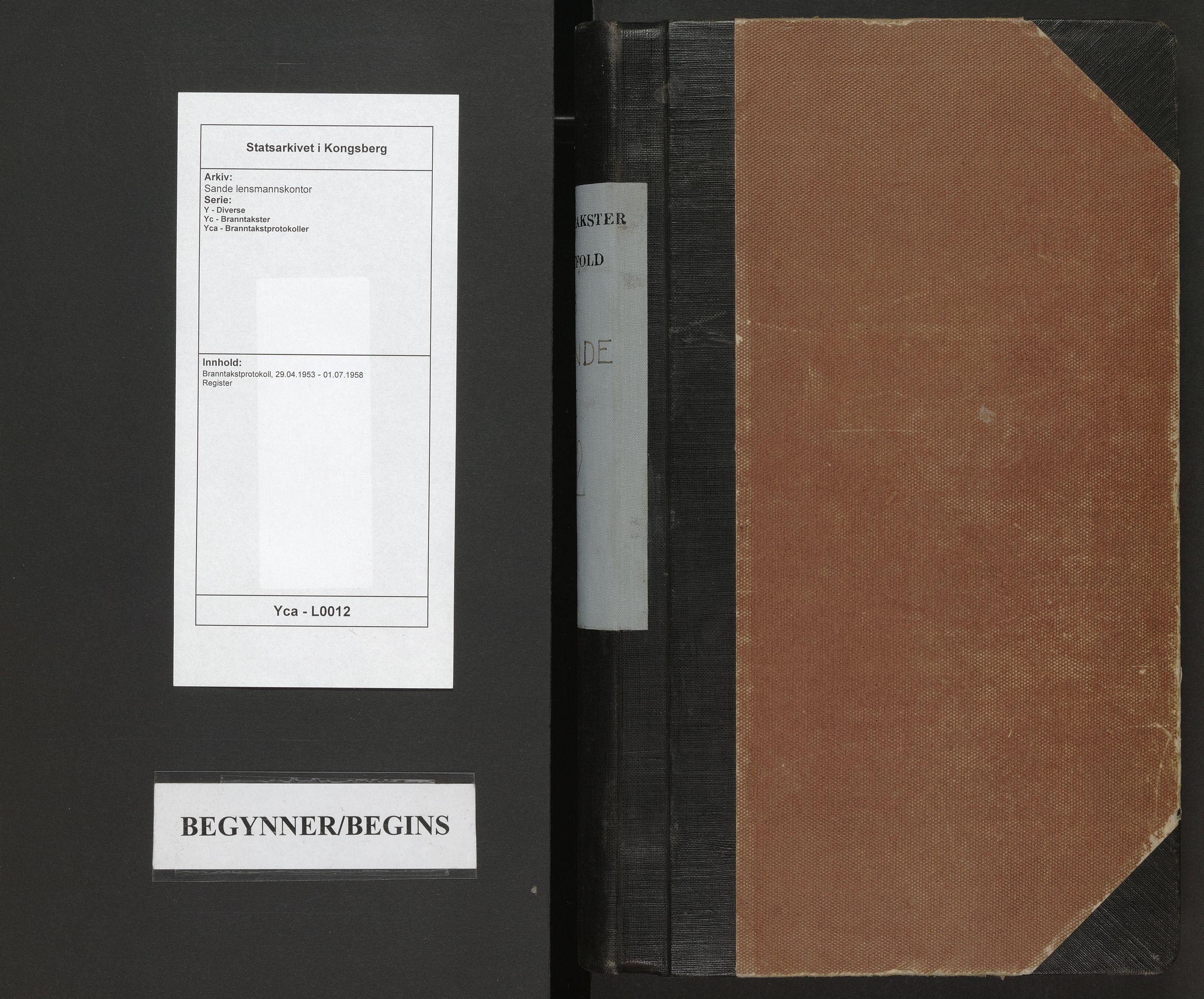 SAKO, Sande lensmannskontor, Y/Yc/Yca/L0012: Branntakstprotokoll, 1953-1958
