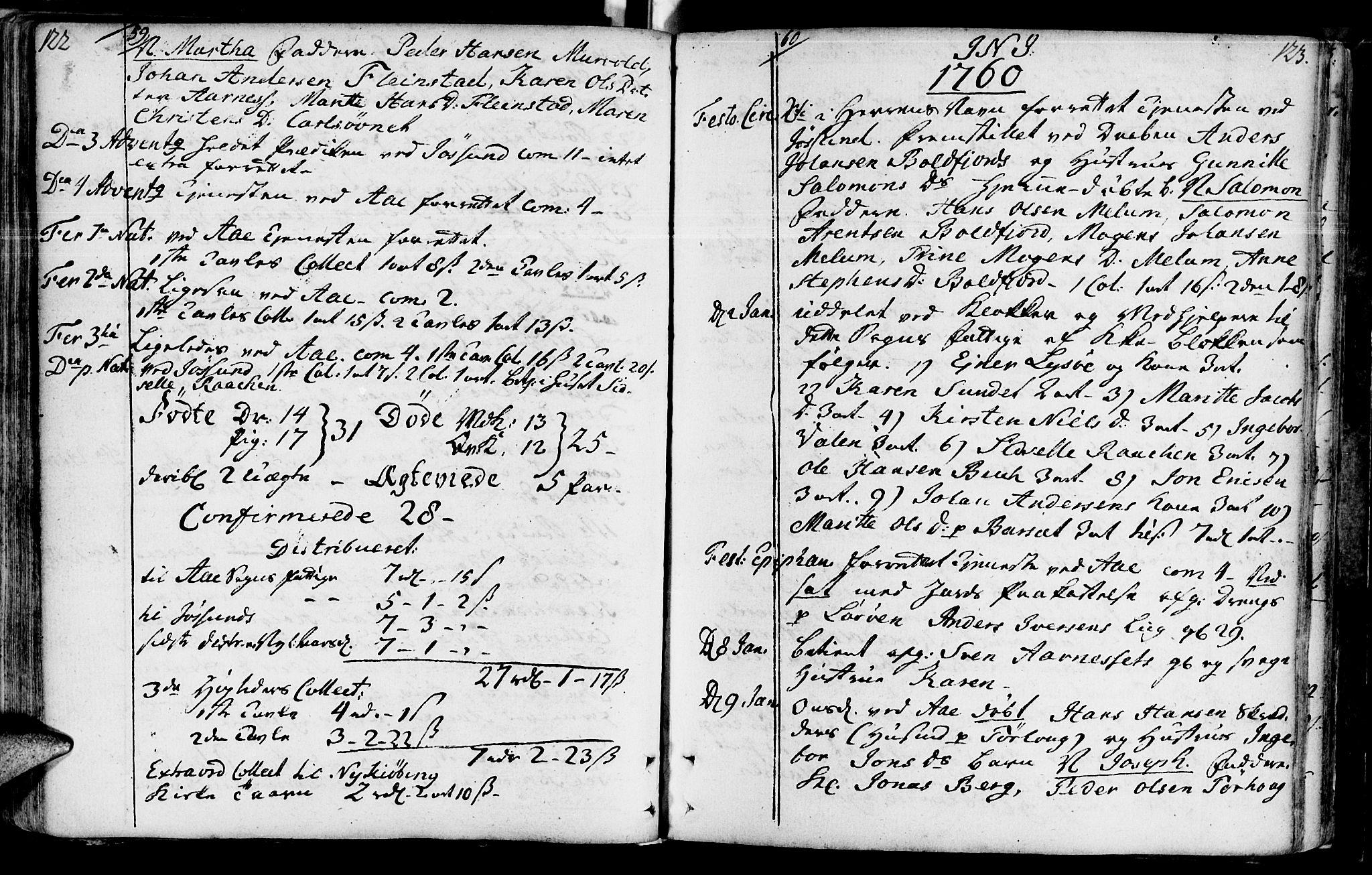 SAT, Ministerialprotokoller, klokkerbøker og fødselsregistre - Sør-Trøndelag, 655/L0672: Ministerialbok nr. 655A01, 1750-1779, s. 122-123