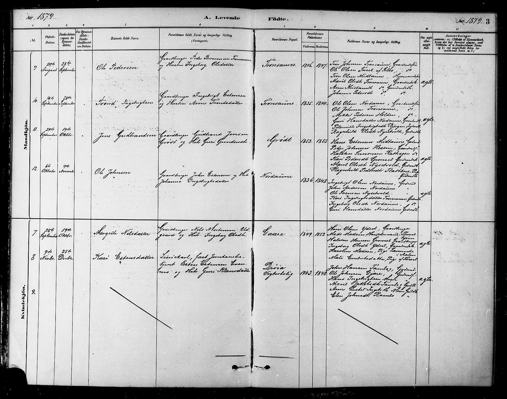 SAT, Ministerialprotokoller, klokkerbøker og fødselsregistre - Sør-Trøndelag, 685/L0972: Ministerialbok nr. 685A09, 1879-1890, s. 3