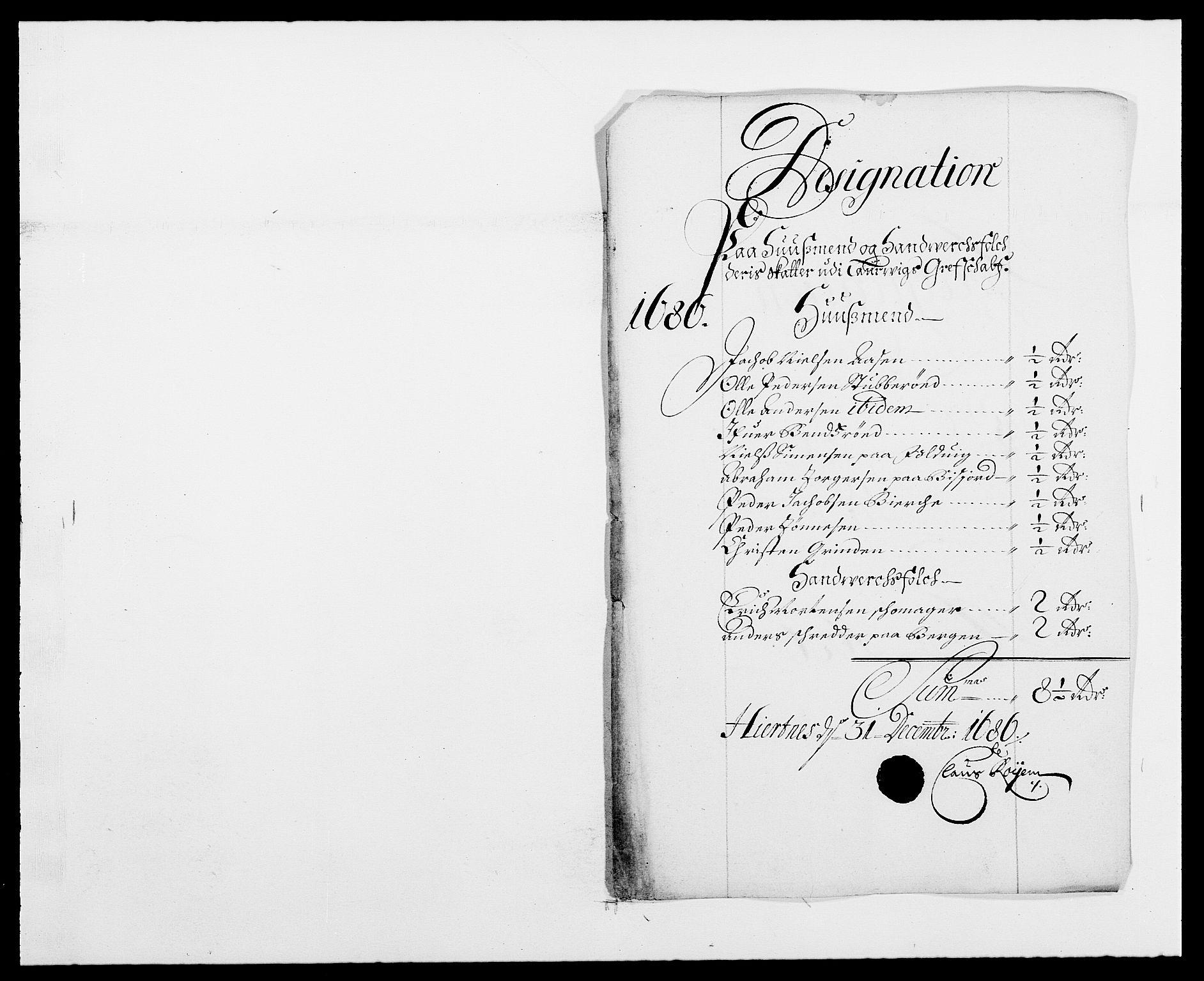 RA, Rentekammeret inntil 1814, Reviderte regnskaper, Fogderegnskap, R33/L1970: Fogderegnskap Larvik grevskap, 1675-1687, s. 247