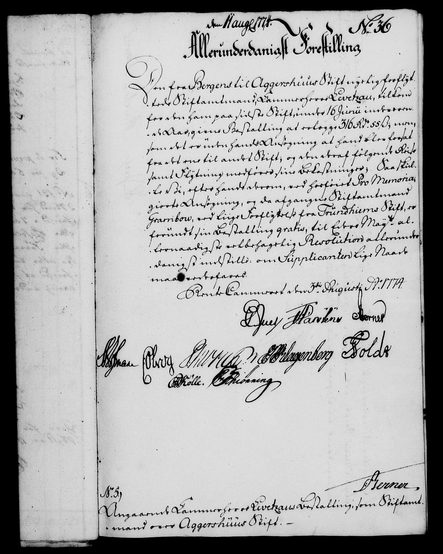 RA, Rentekammeret, Kammerkanselliet, G/Gf/Gfa/L0056: Norsk relasjons- og resolusjonsprotokoll (merket RK 52.56), 1774, s. 155