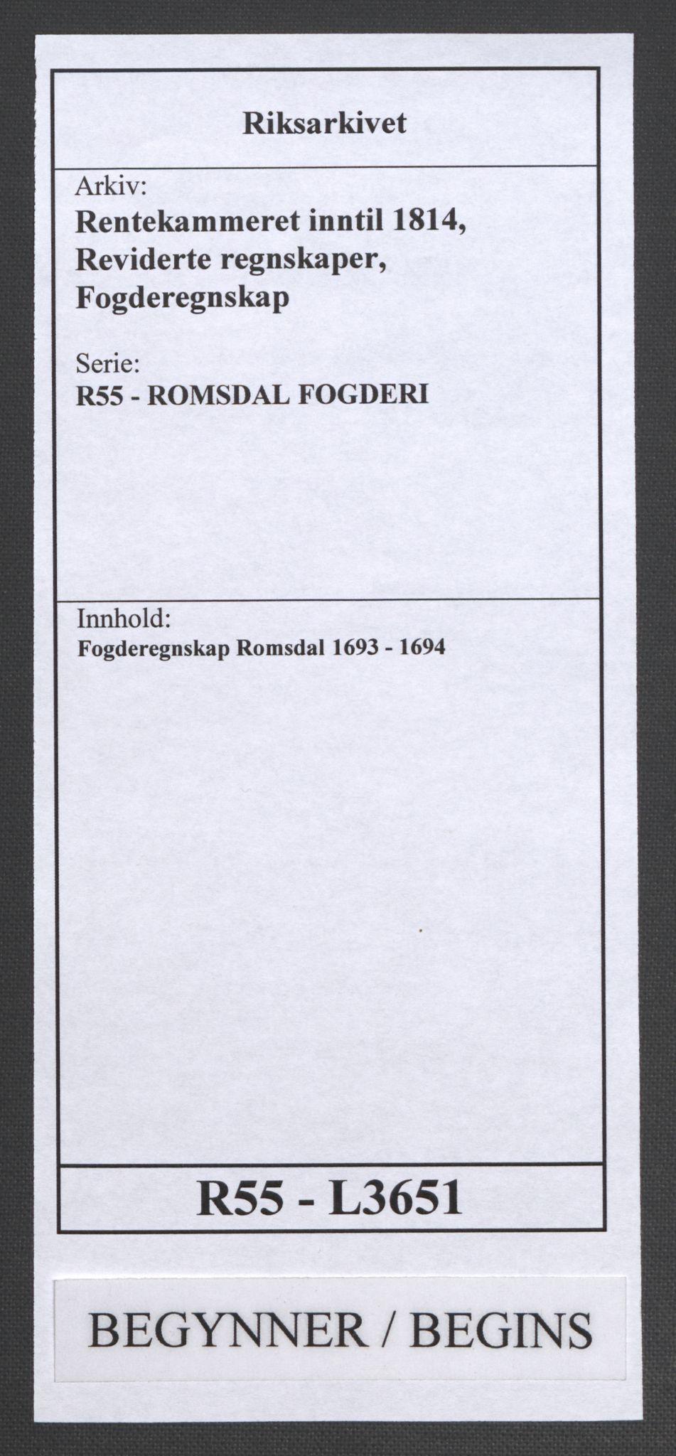 RA, Rentekammeret inntil 1814, Reviderte regnskaper, Fogderegnskap, R55/L3651: Fogderegnskap Romsdal, 1693-1694, s. 1