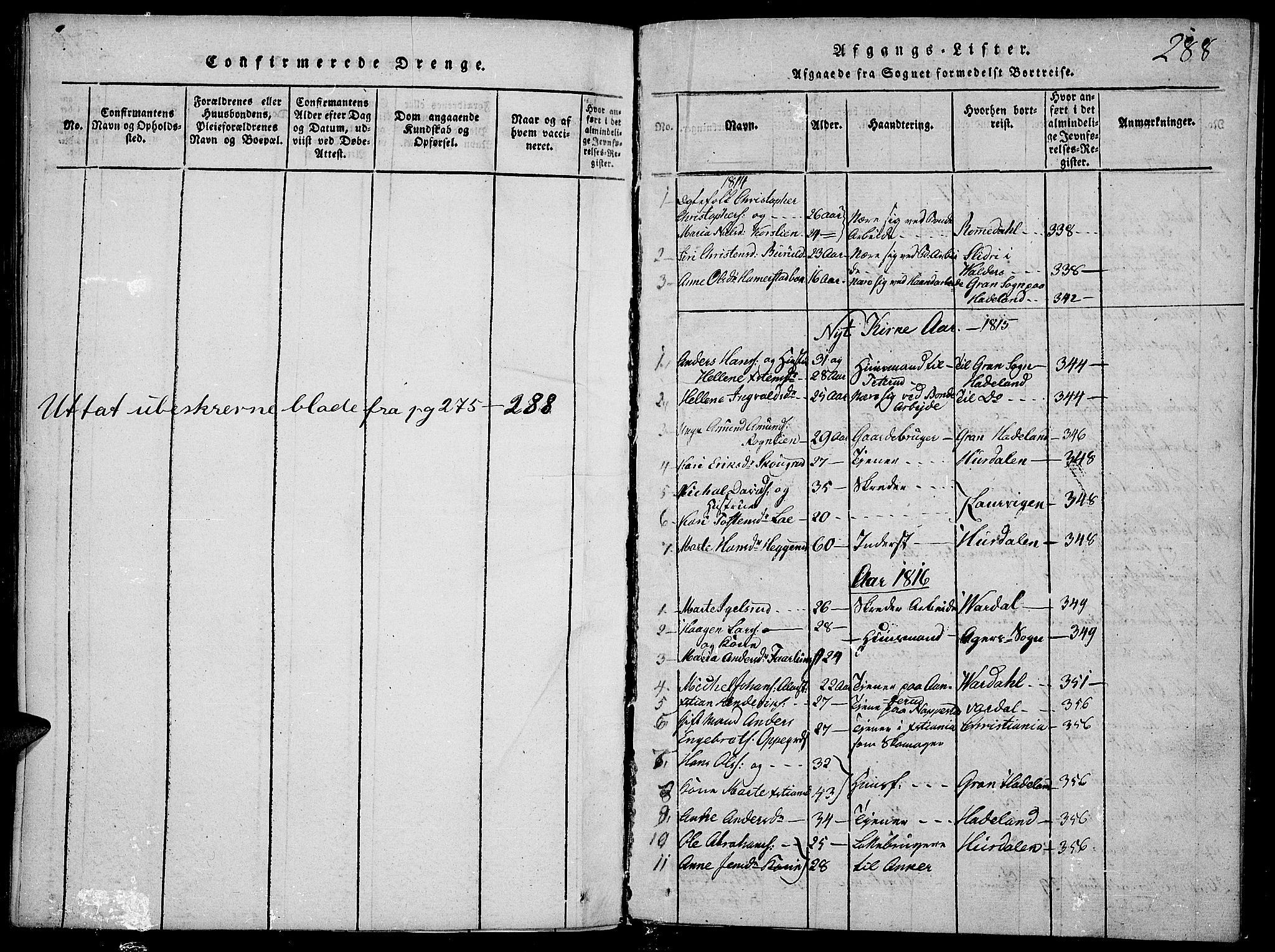 SAH, Toten prestekontor, Ministerialbok nr. 9, 1814-1820, s. 288