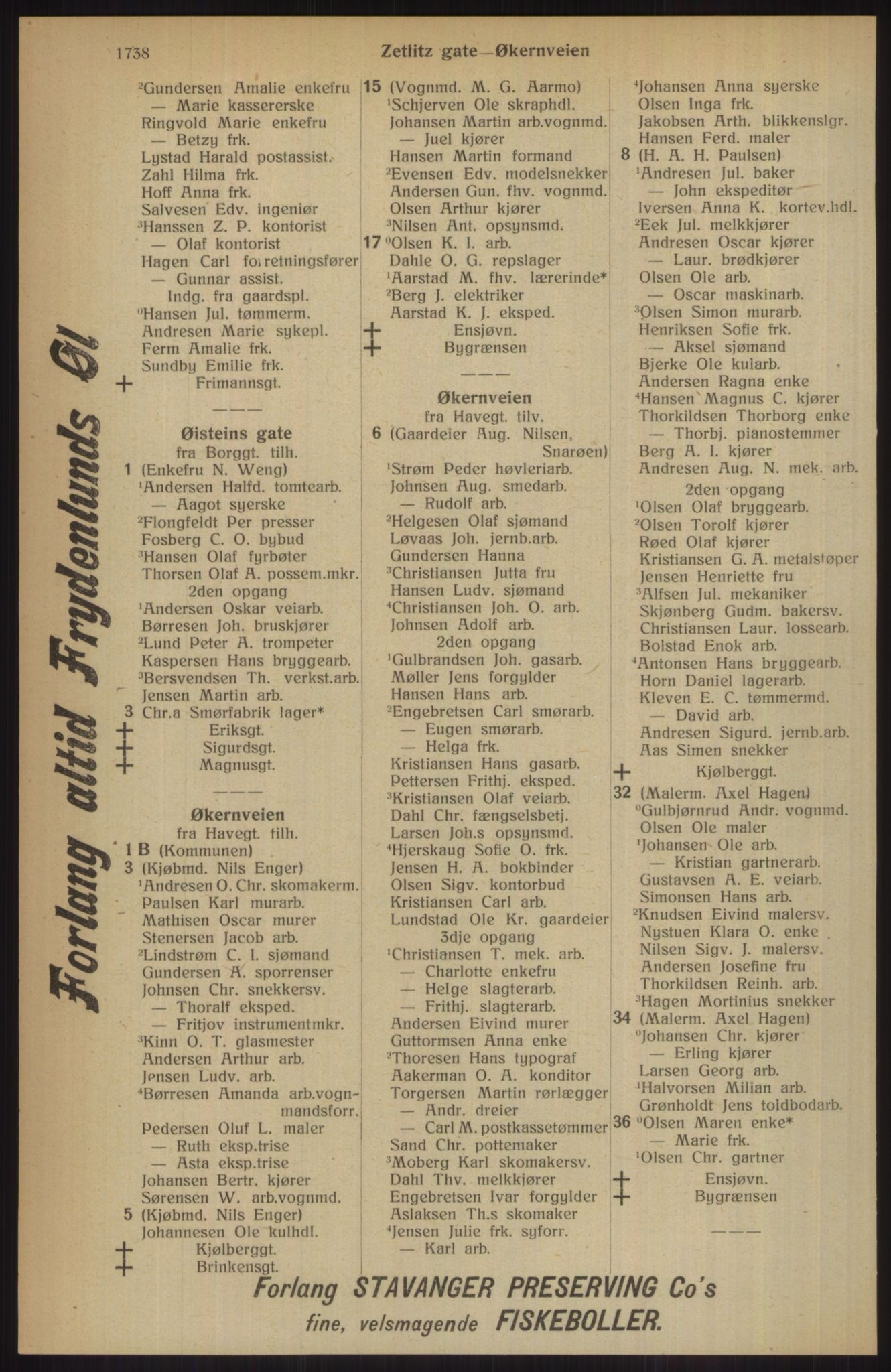 RA, Kristiania adressebok (publikasjon)*, 1914, s. 1738