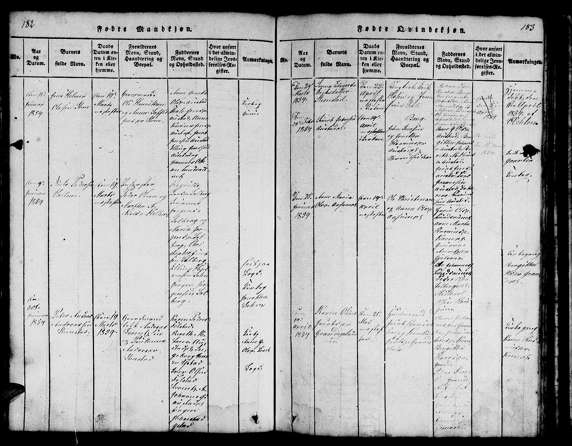 SAT, Ministerialprotokoller, klokkerbøker og fødselsregistre - Nord-Trøndelag, 731/L0310: Klokkerbok nr. 731C01, 1816-1874, s. 182-183