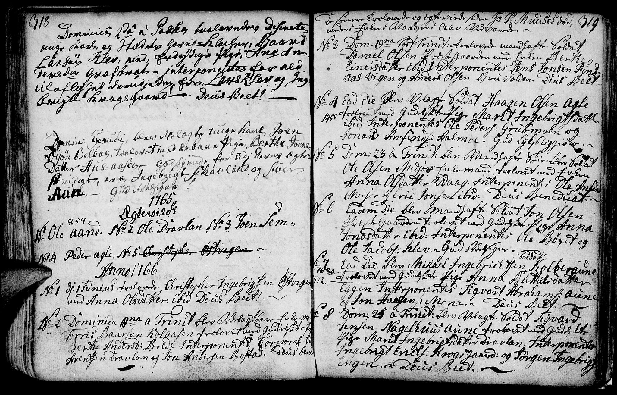 SAT, Ministerialprotokoller, klokkerbøker og fødselsregistre - Nord-Trøndelag, 749/L0467: Ministerialbok nr. 749A01, 1733-1787, s. 318-319