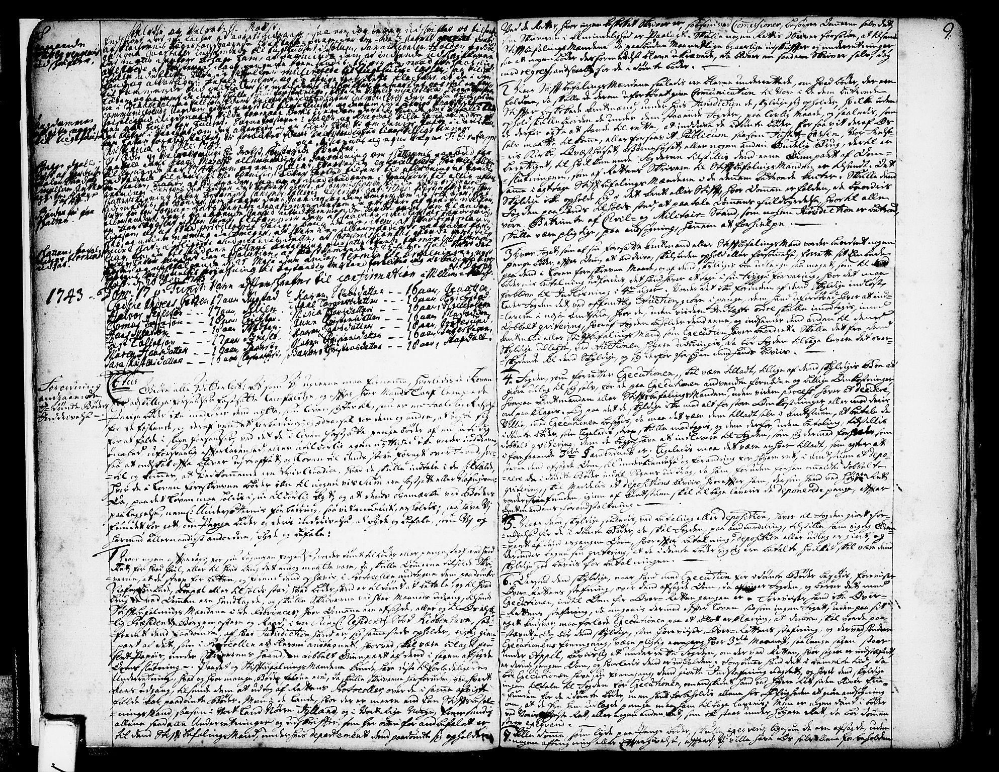 SAKO, Solum sokneprestkontor, A/Aa/L0002: Annen kirkebok nr. 2, 1743-1791, s. 8-9