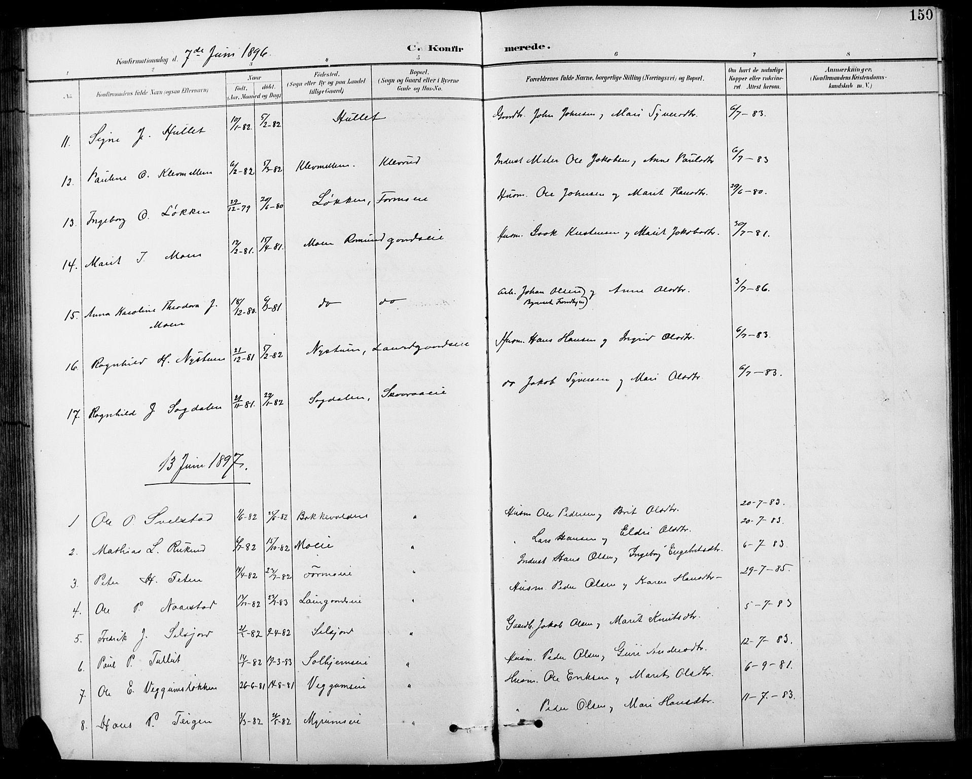 SAH, Sel prestekontor, Klokkerbok nr. 1, 1894-1923, s. 150